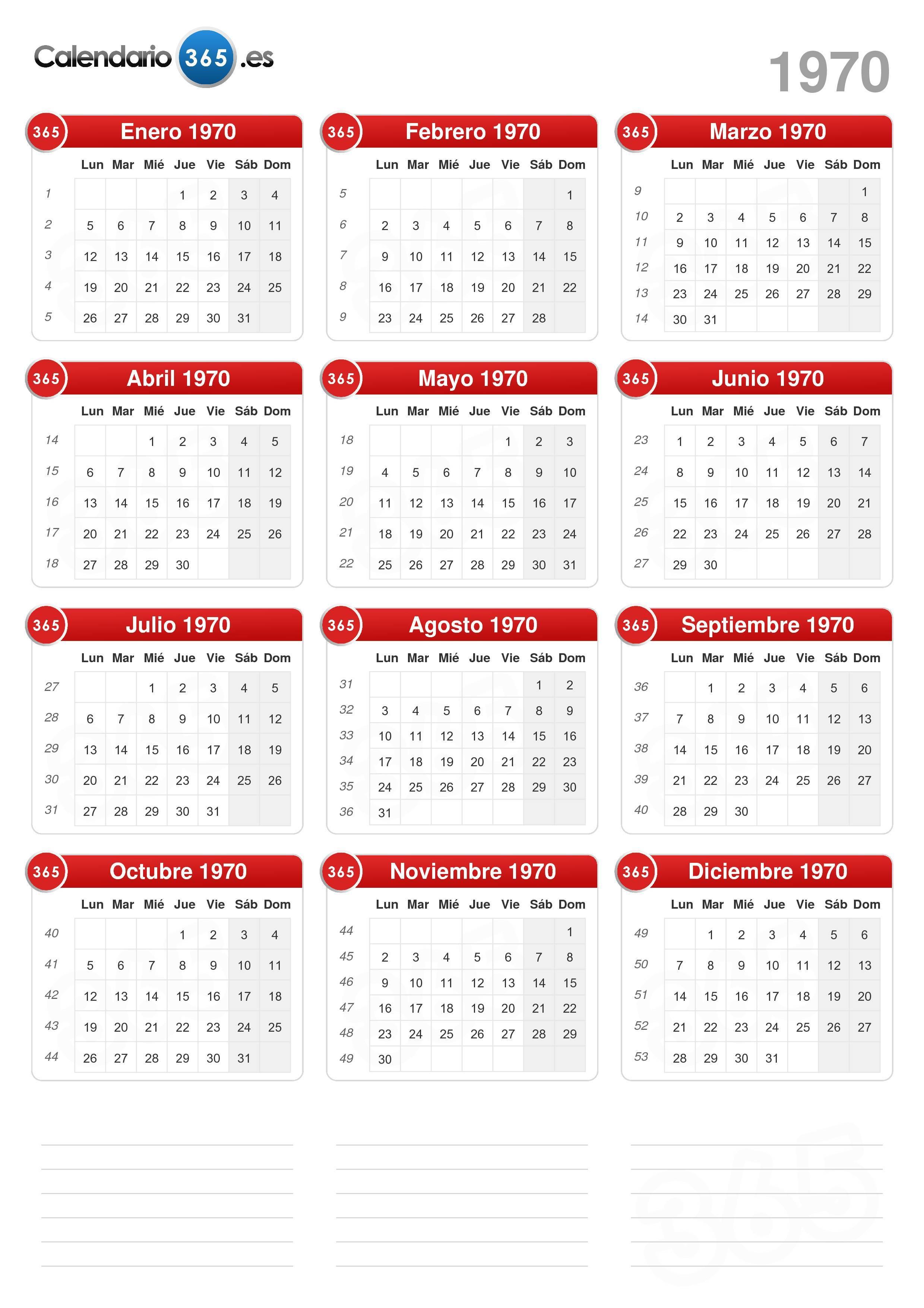 Calendario Del Ano 1969.Calendario 1970