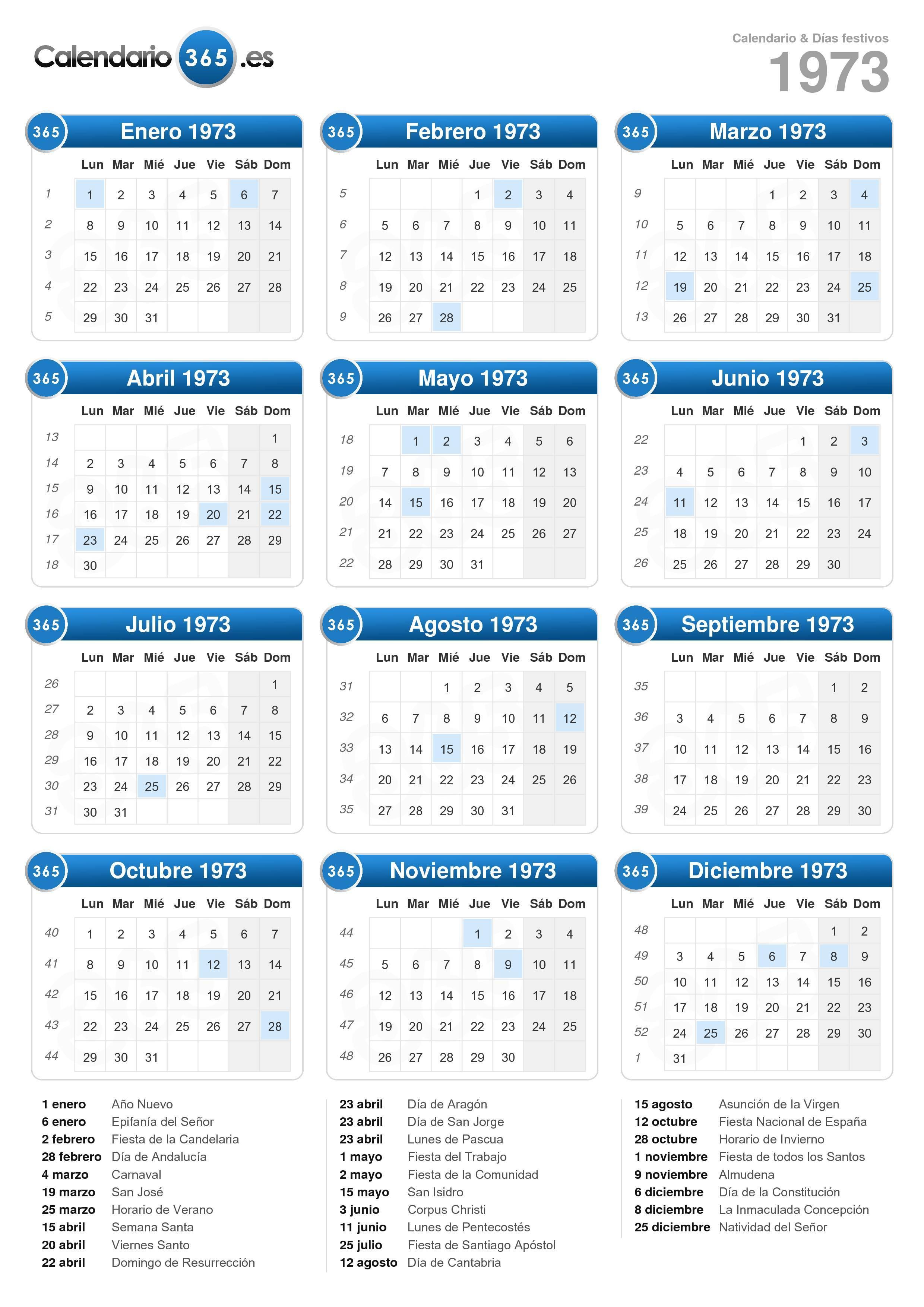 Calendario 1973.Calendario 1973