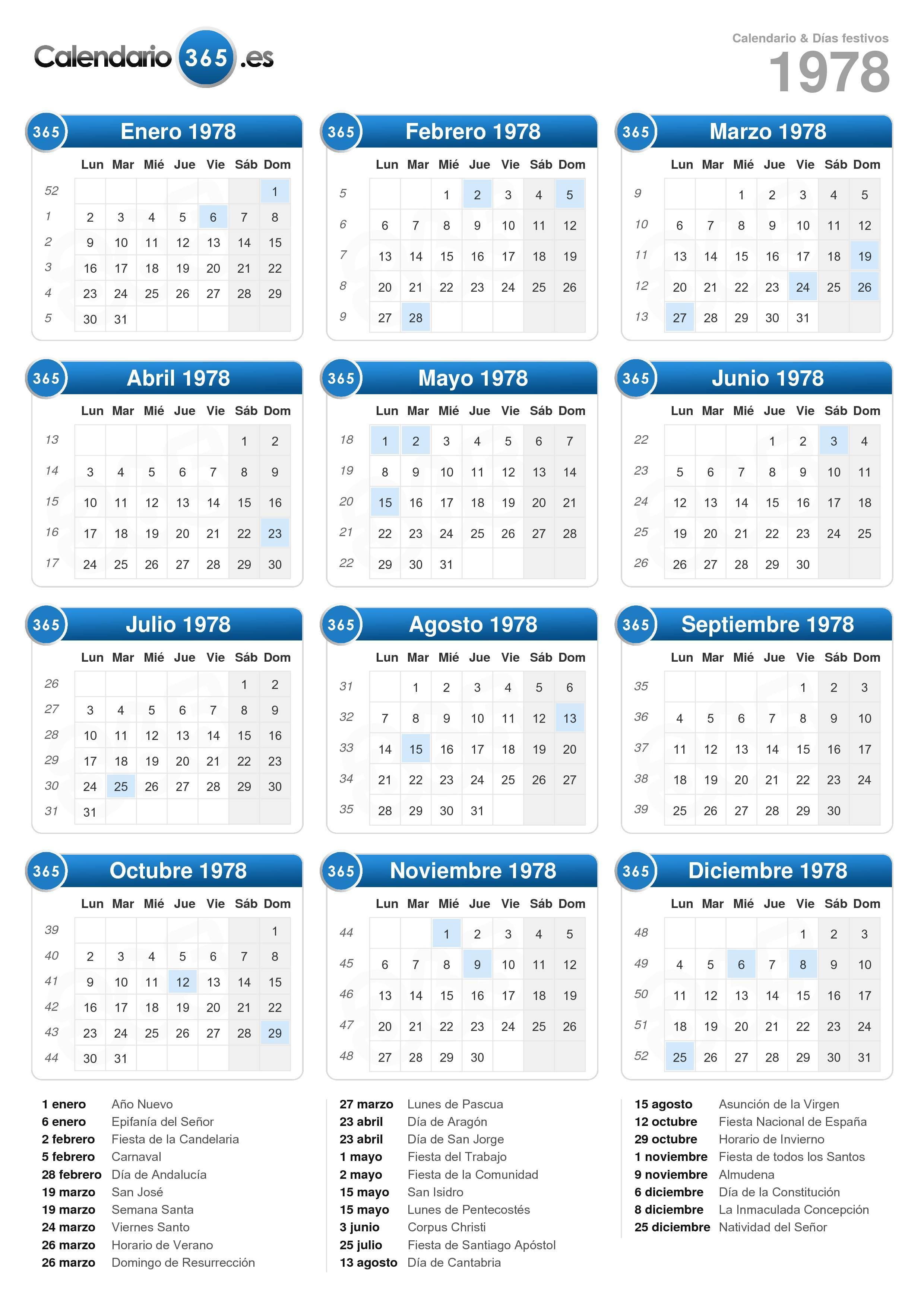 Calendario 1978.Calendario 1978