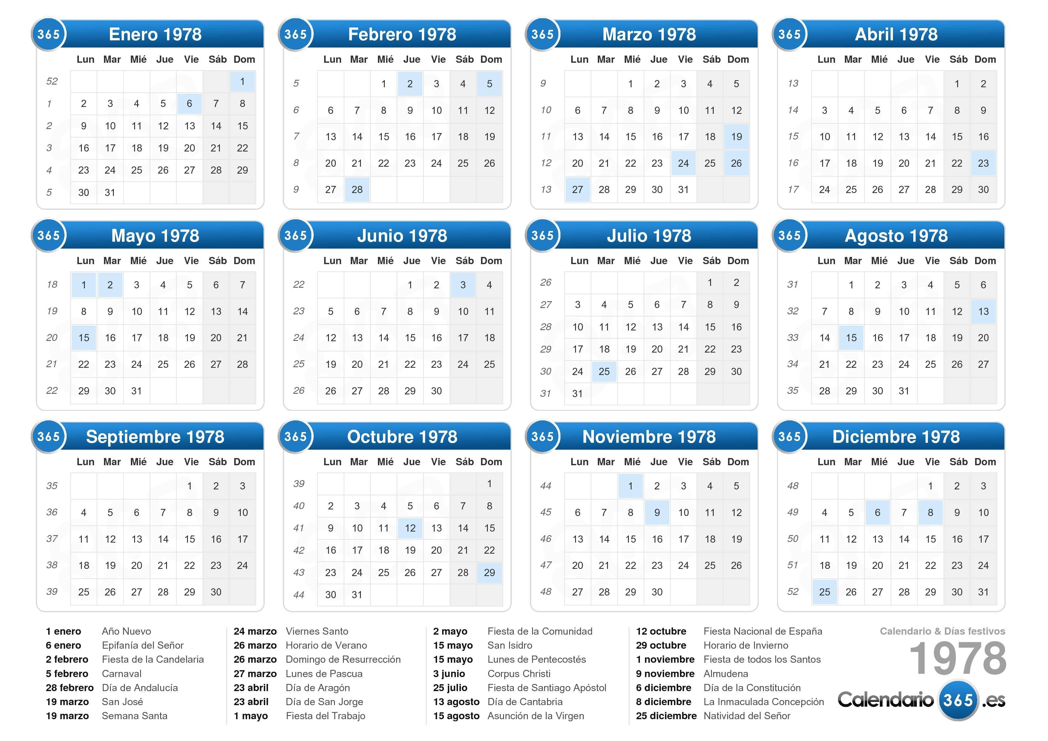 Calendario Enero 1978.Calendario 1978