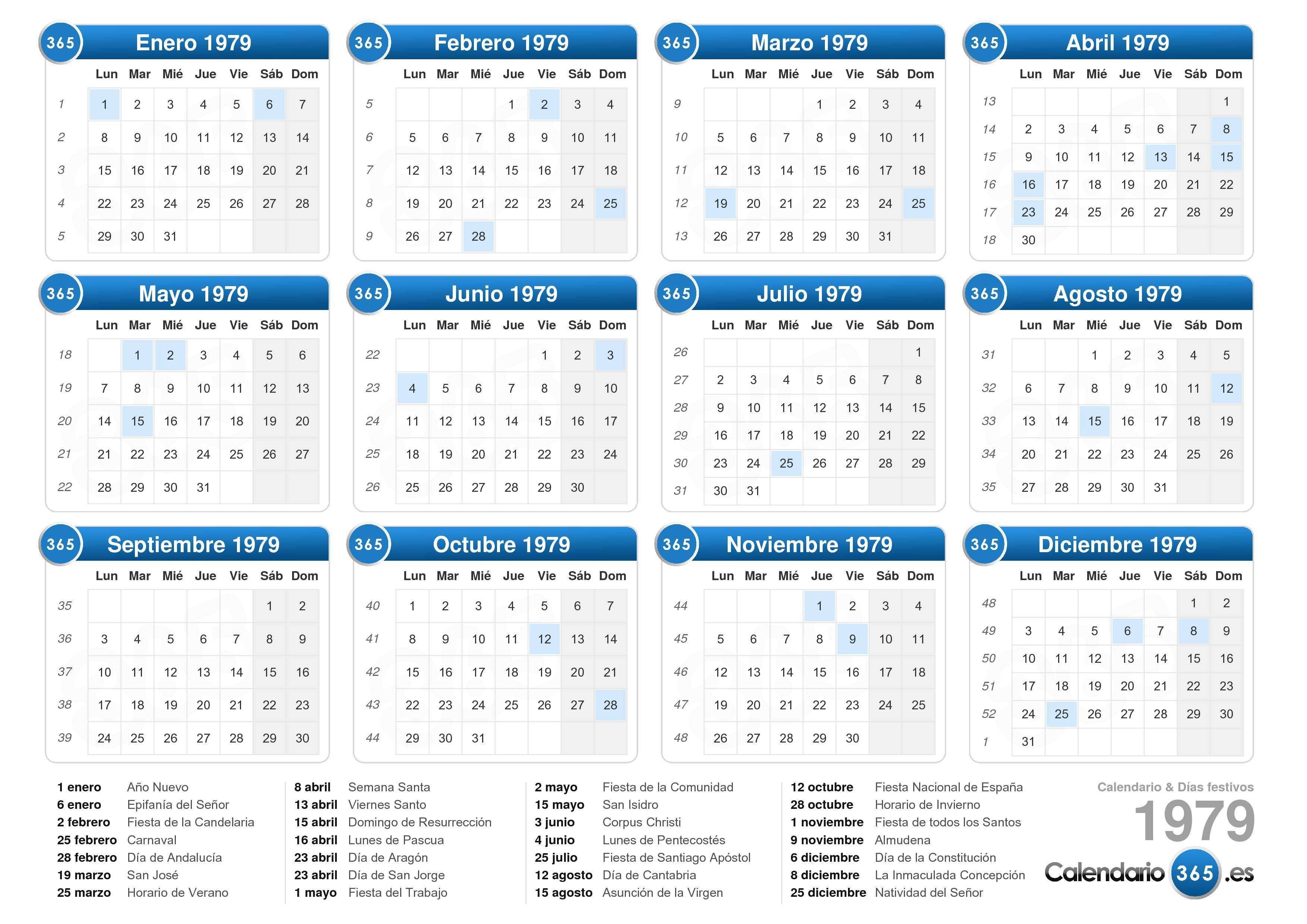 Calendario Del 1979.Calendario 1979