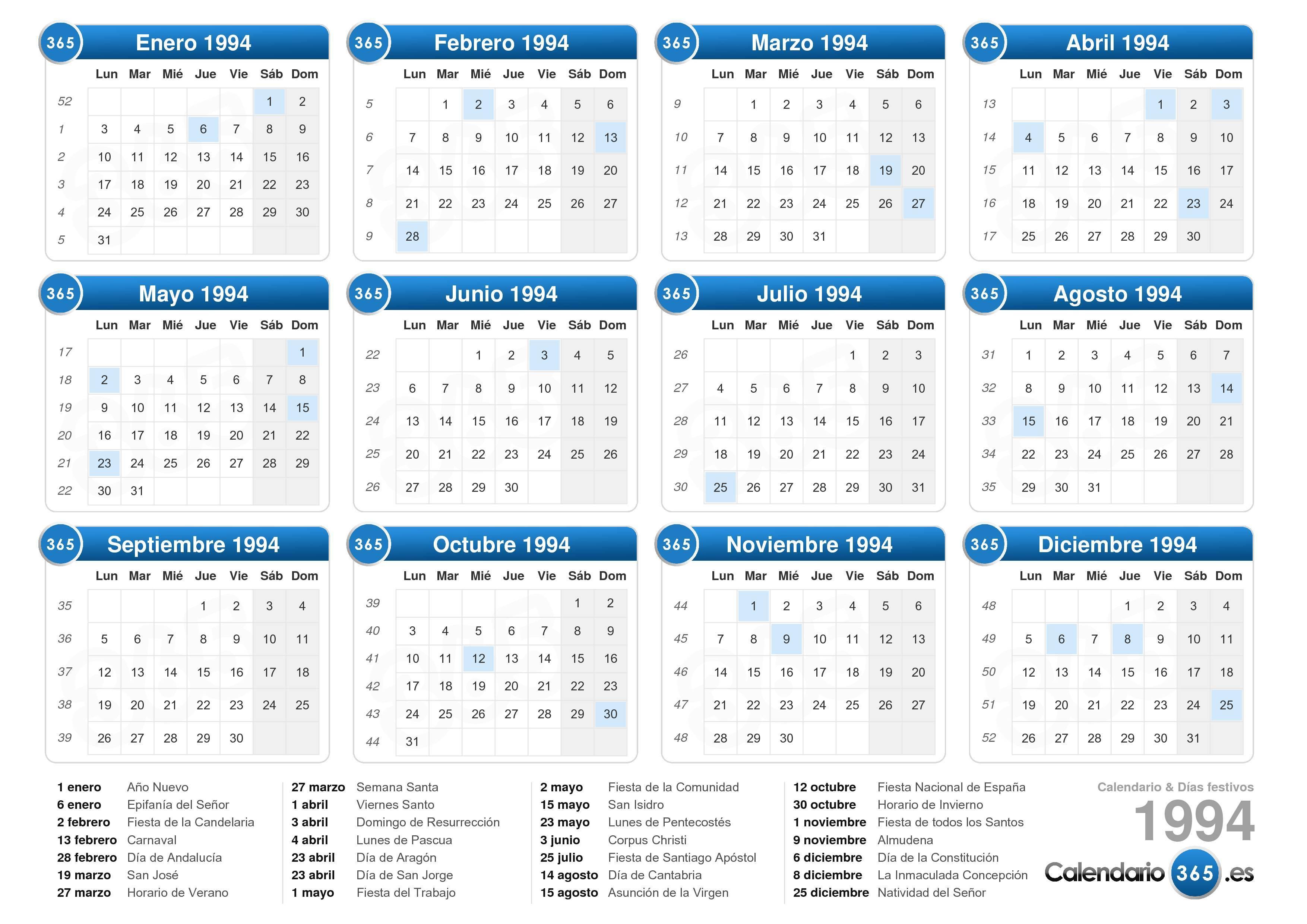 Calendario Santos.Calendario 1994