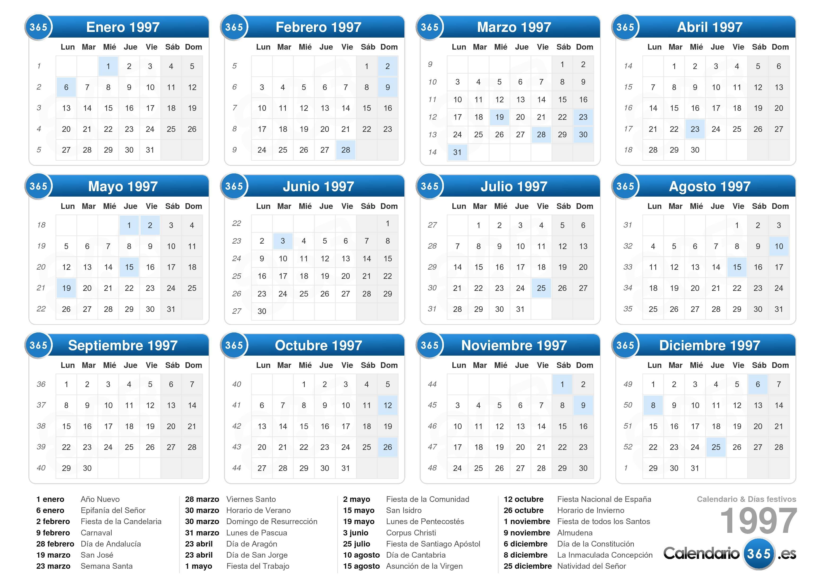 Calendario Del Ano 1957.Calendario 1997