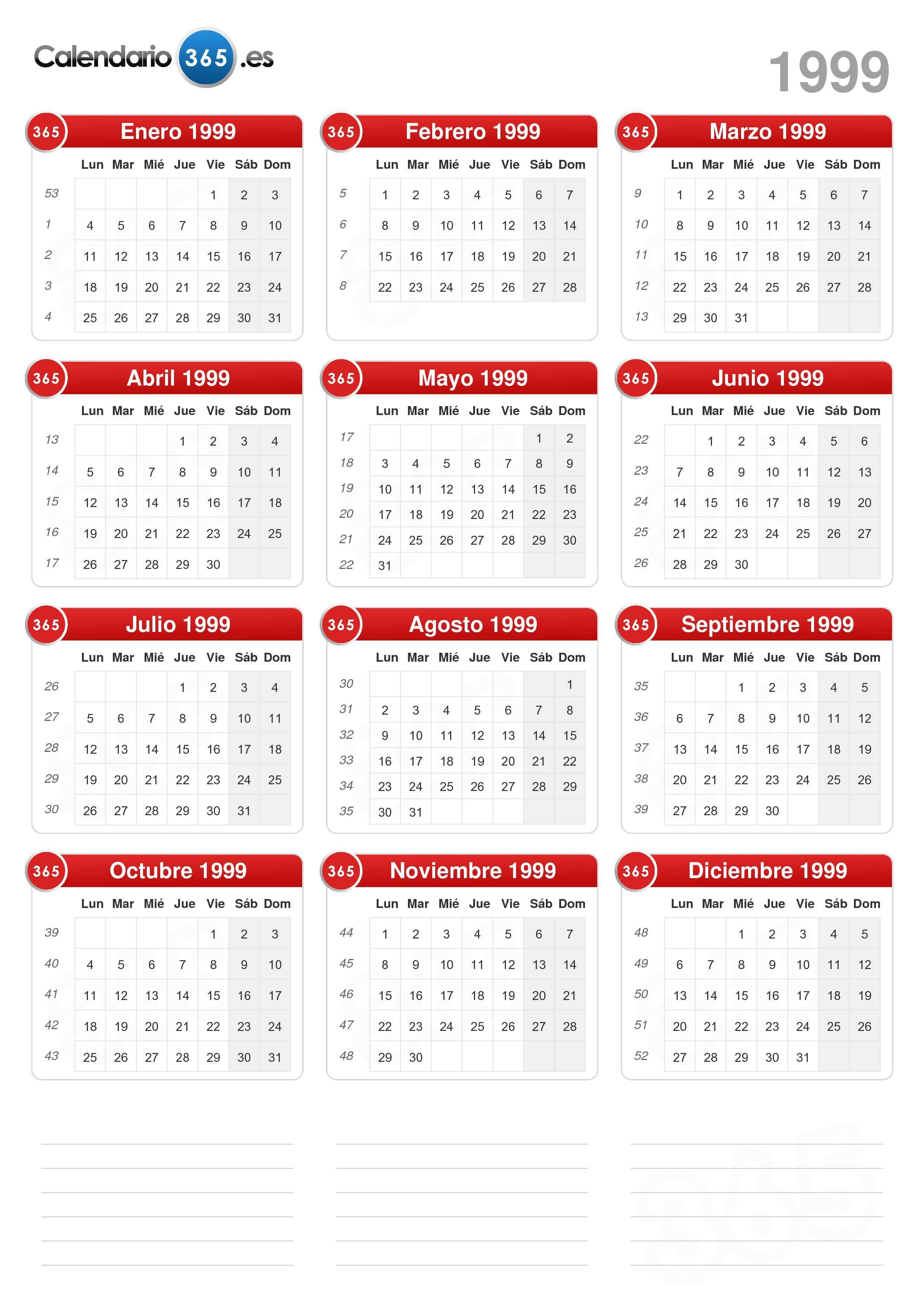 Calendario 1999