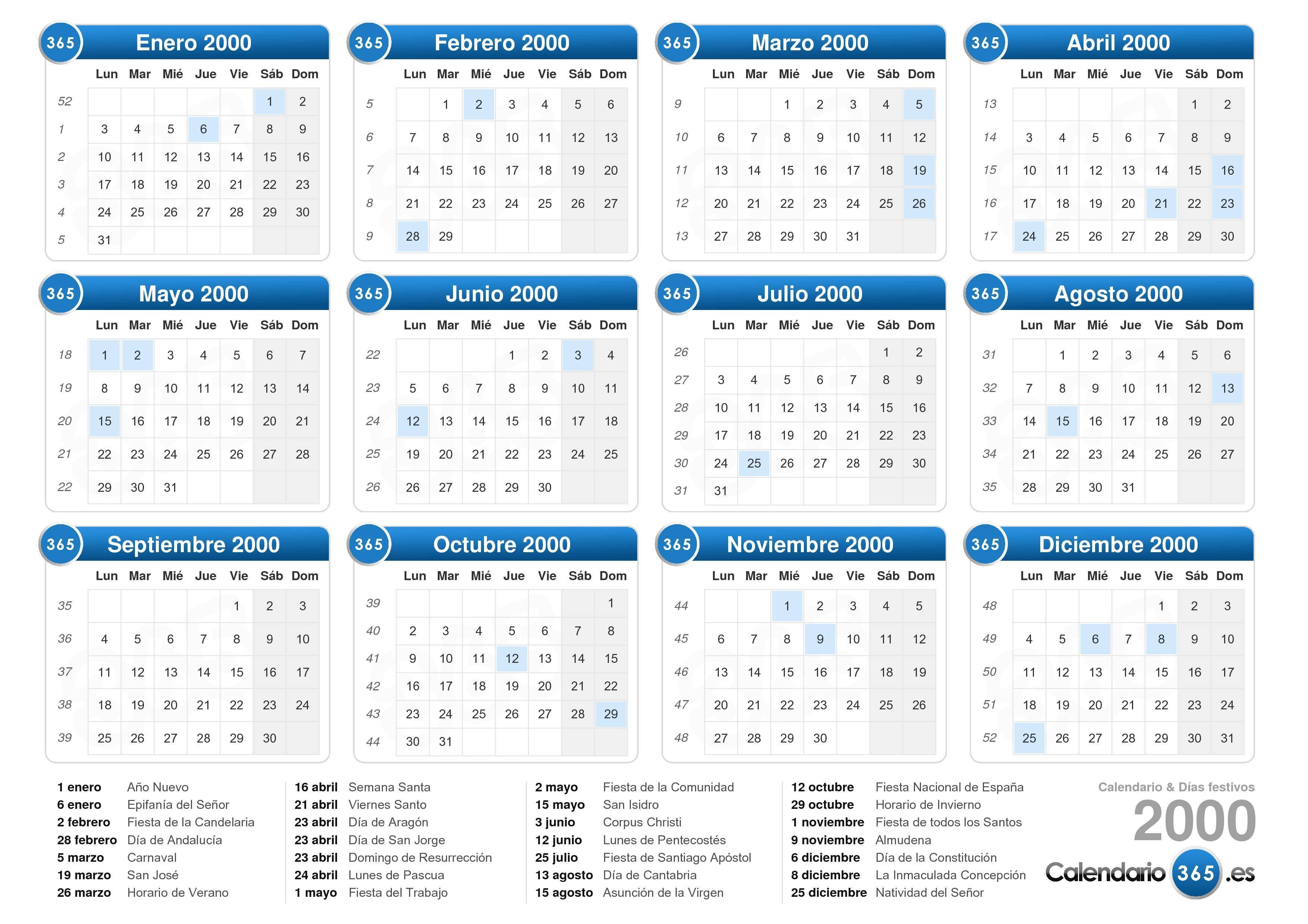 Calendario Julio Del 2000.Calendario 2000