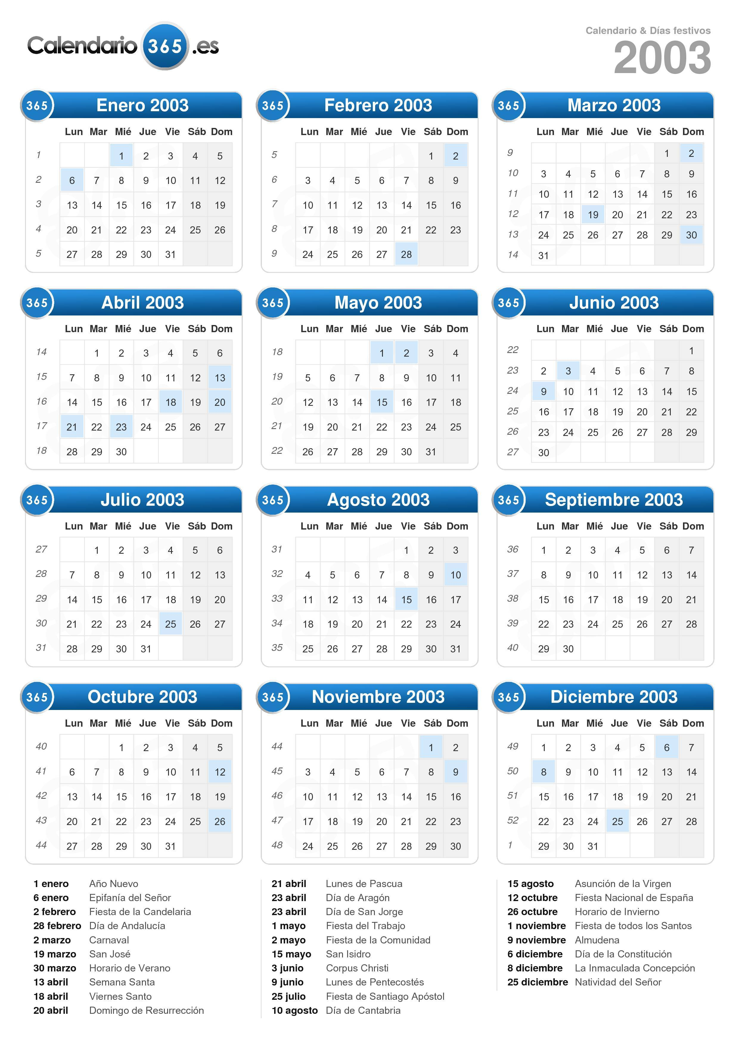 Calendario 2020 Bizkaia.Calendario 2003