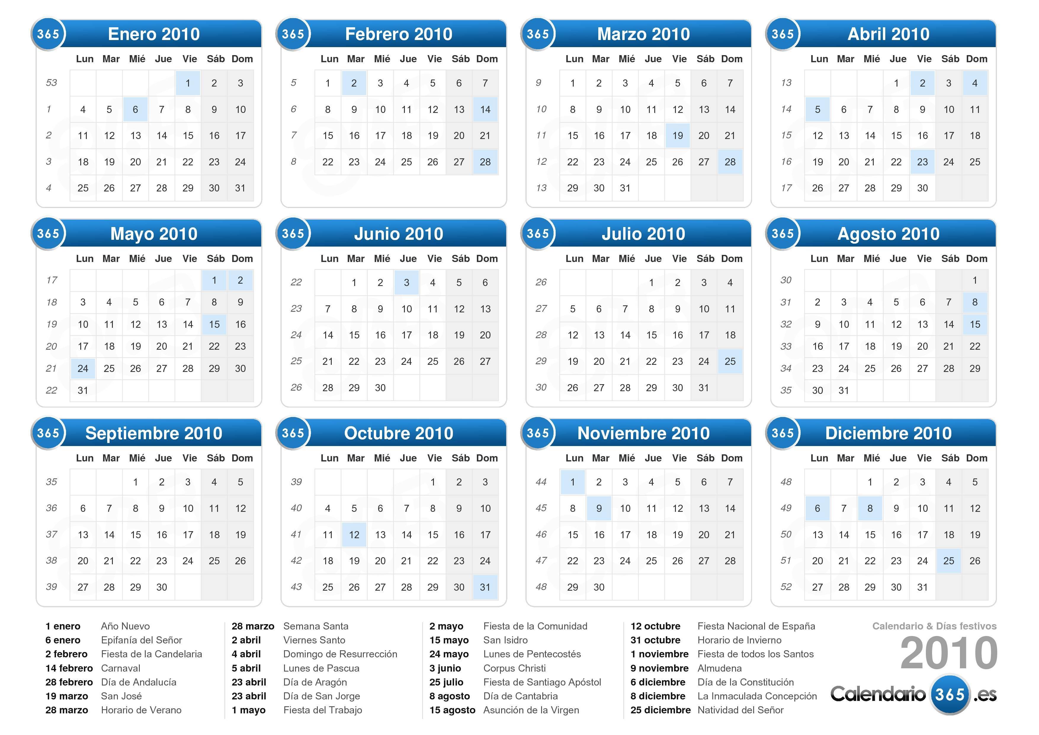Descargue el calendario 2010 con días festivos . (Formato apaisado ...