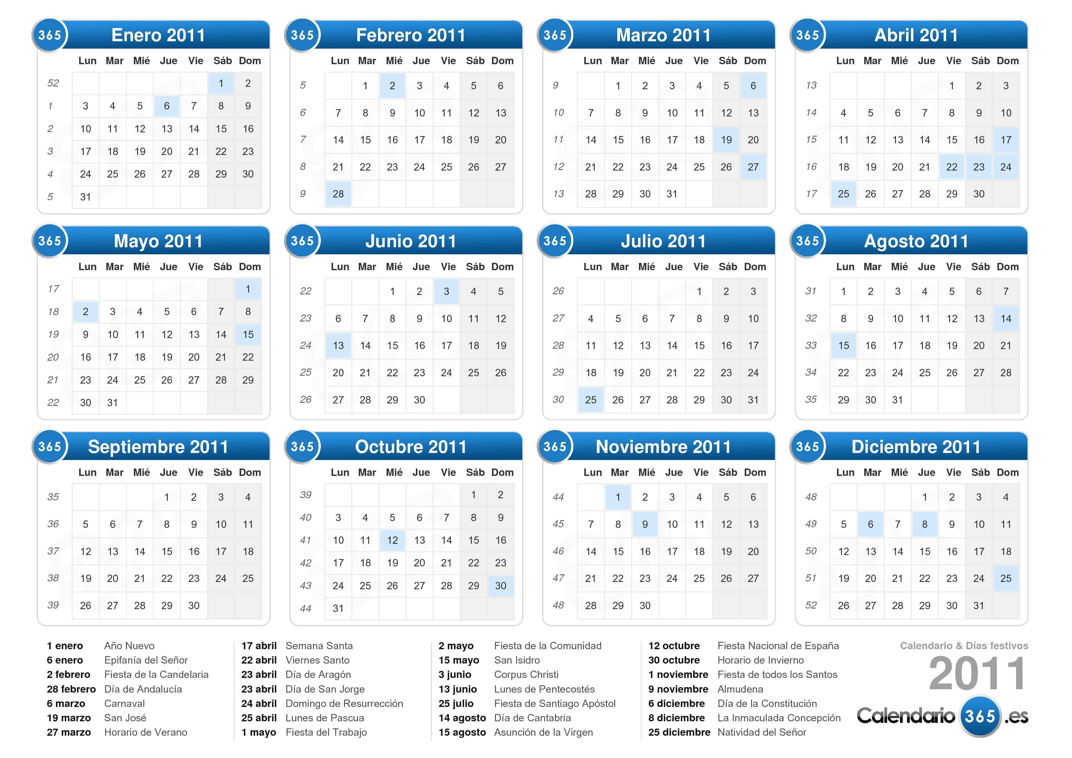 Calendario 2011 Espana.Calendario 2011