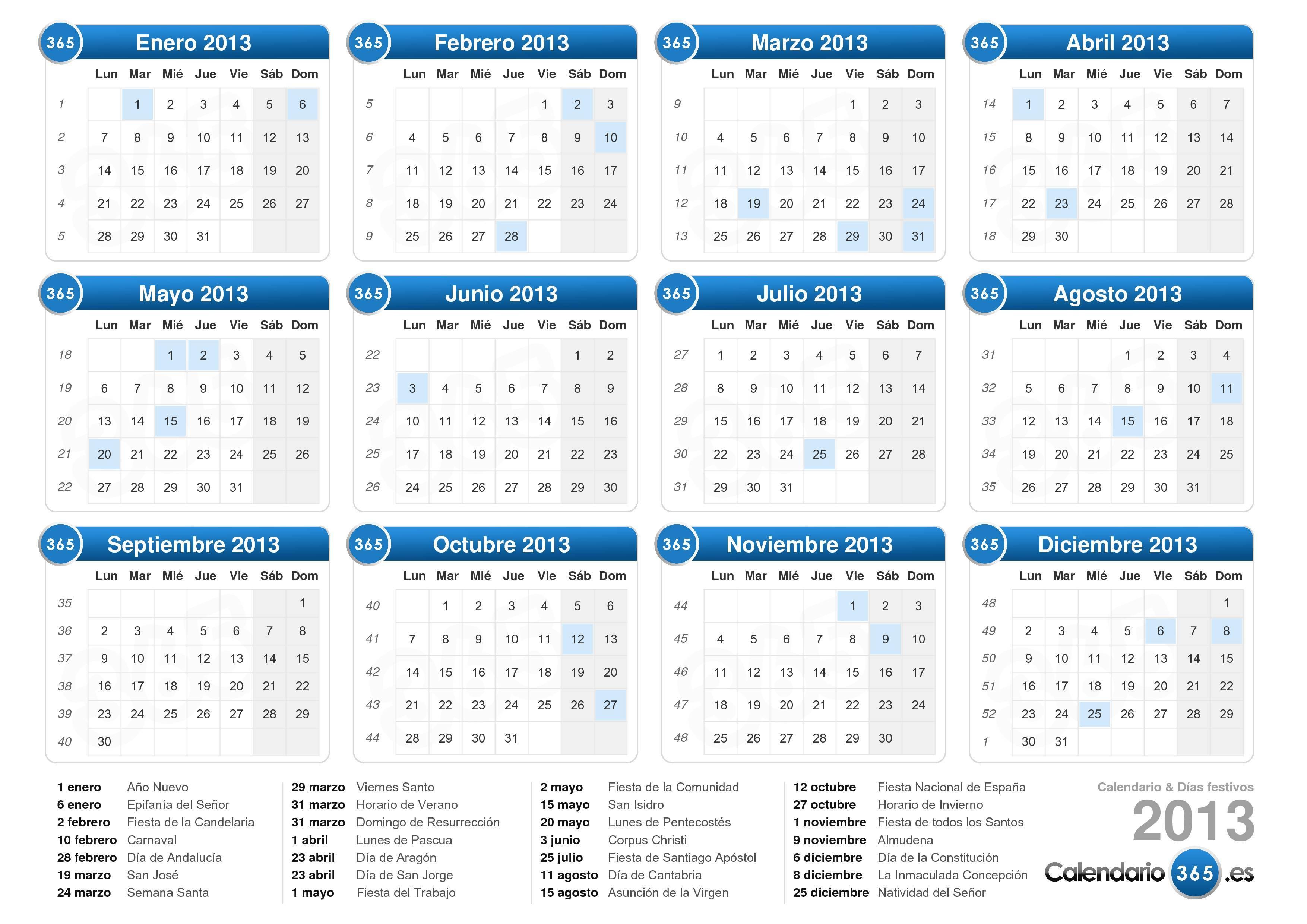 Descargue el calendario con días festivos 2013 para imprimir.