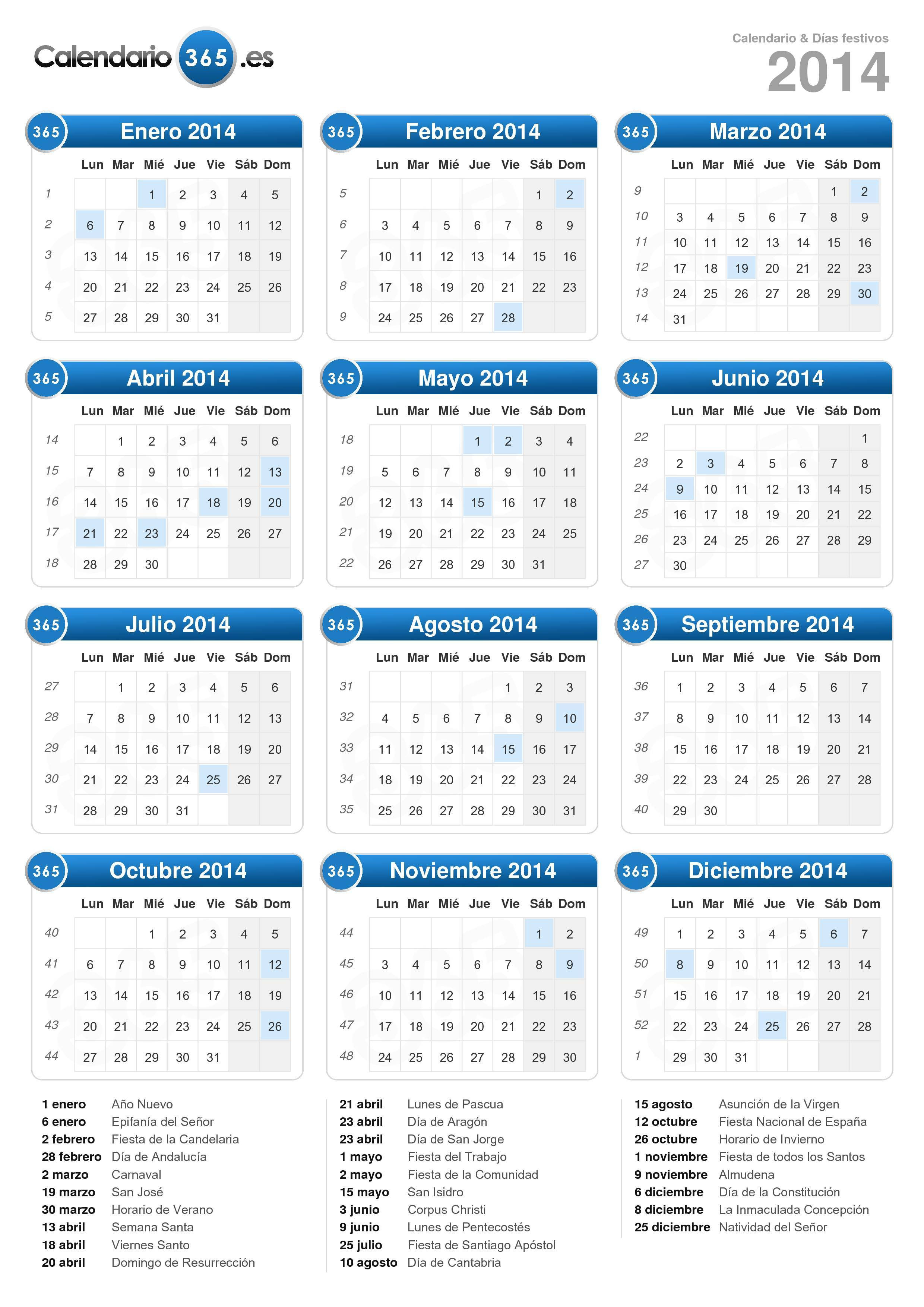 Descargue el calendario 2014 con días festivos . (Formato vertical ...