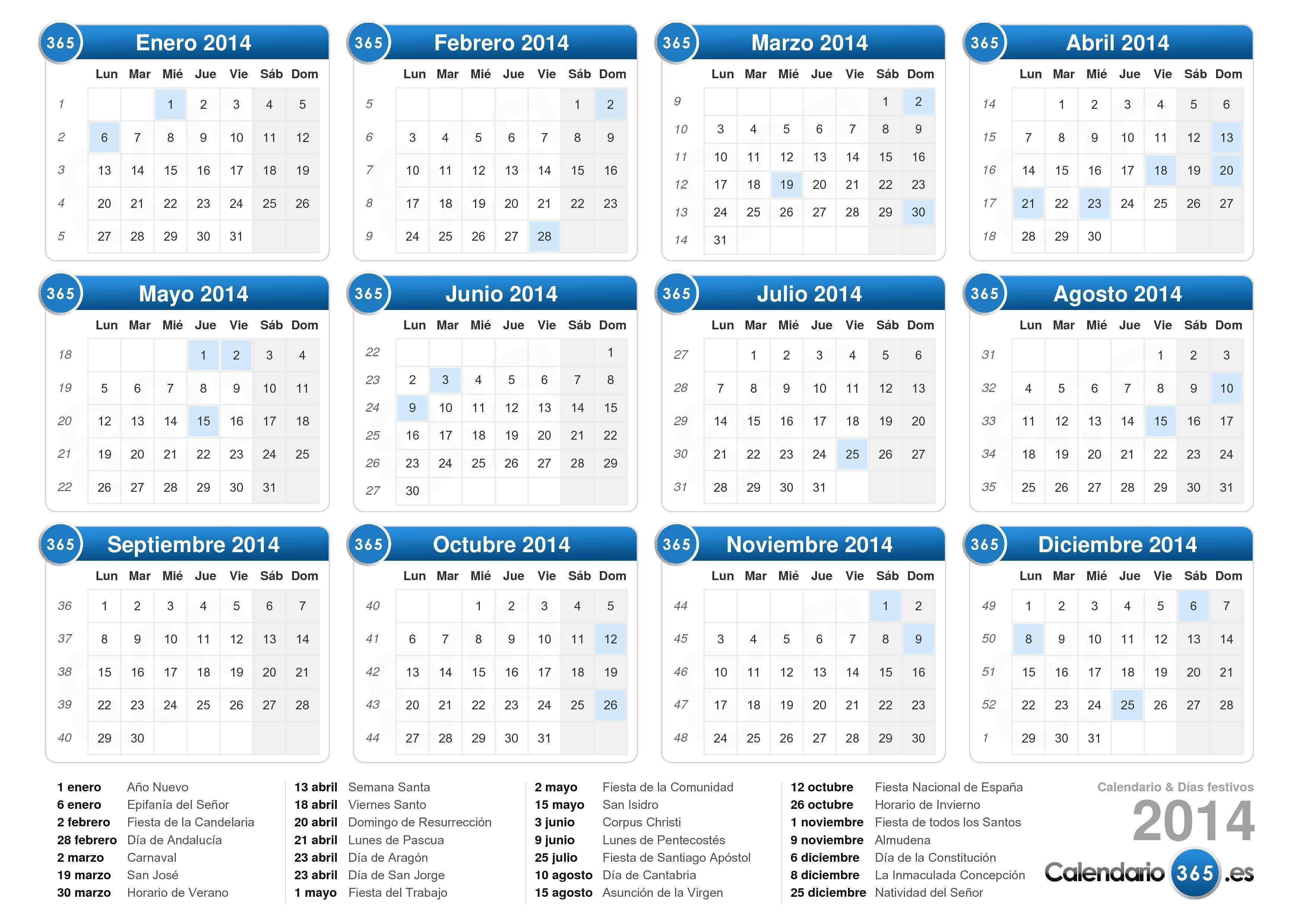 Descargue el calendario con días festivos 2014 para imprimir.