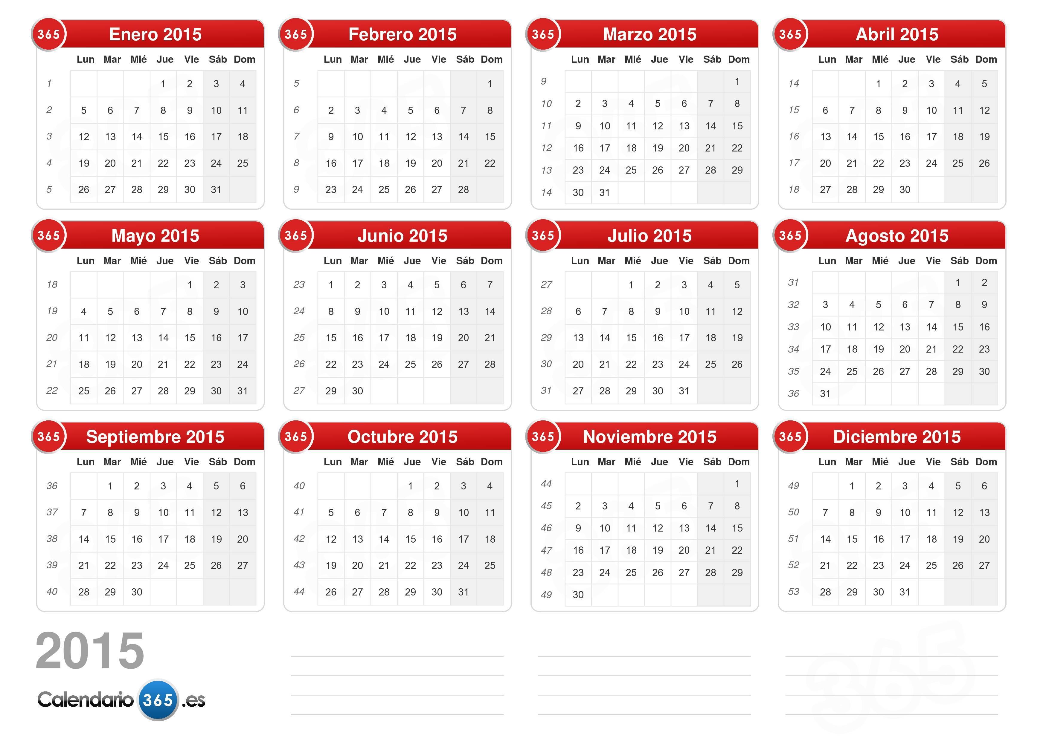 Calendario Completo.Calendario 2015