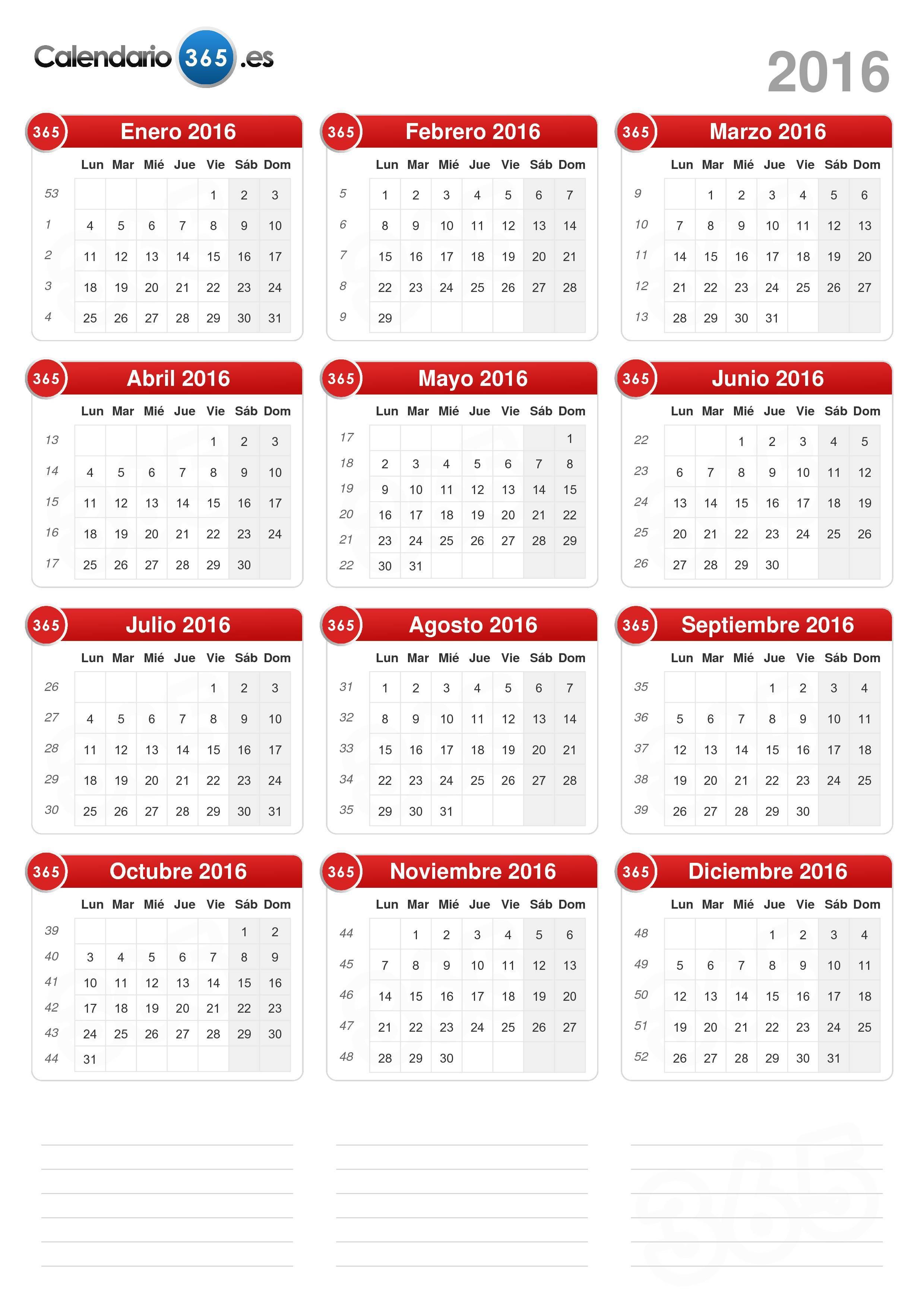 2016 Calendario Plantilla. Semana Horizontal. Primer Dia Lunes ...