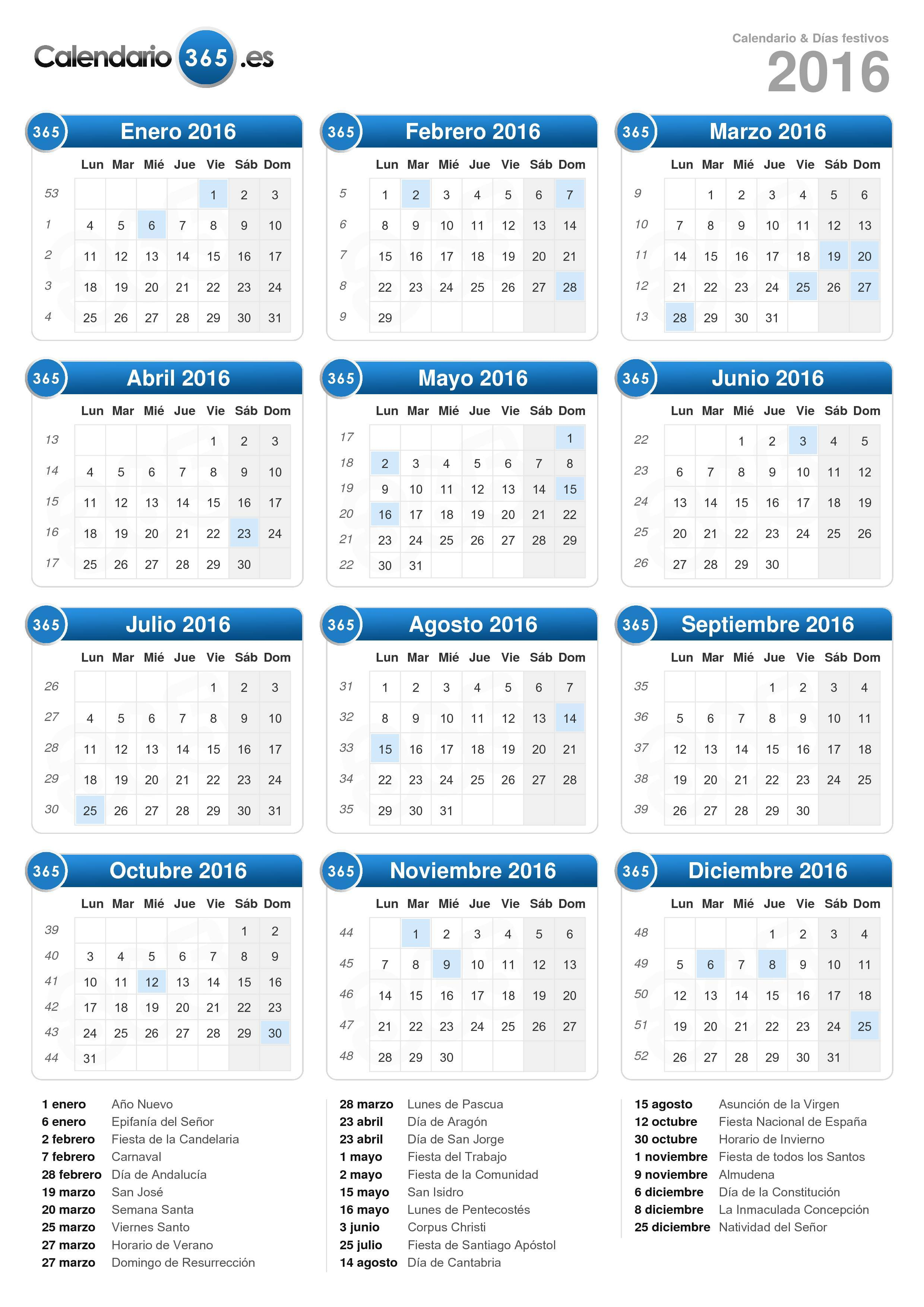 ... el calendario 2016 con días festivos . (Formato vertical - 1 Página