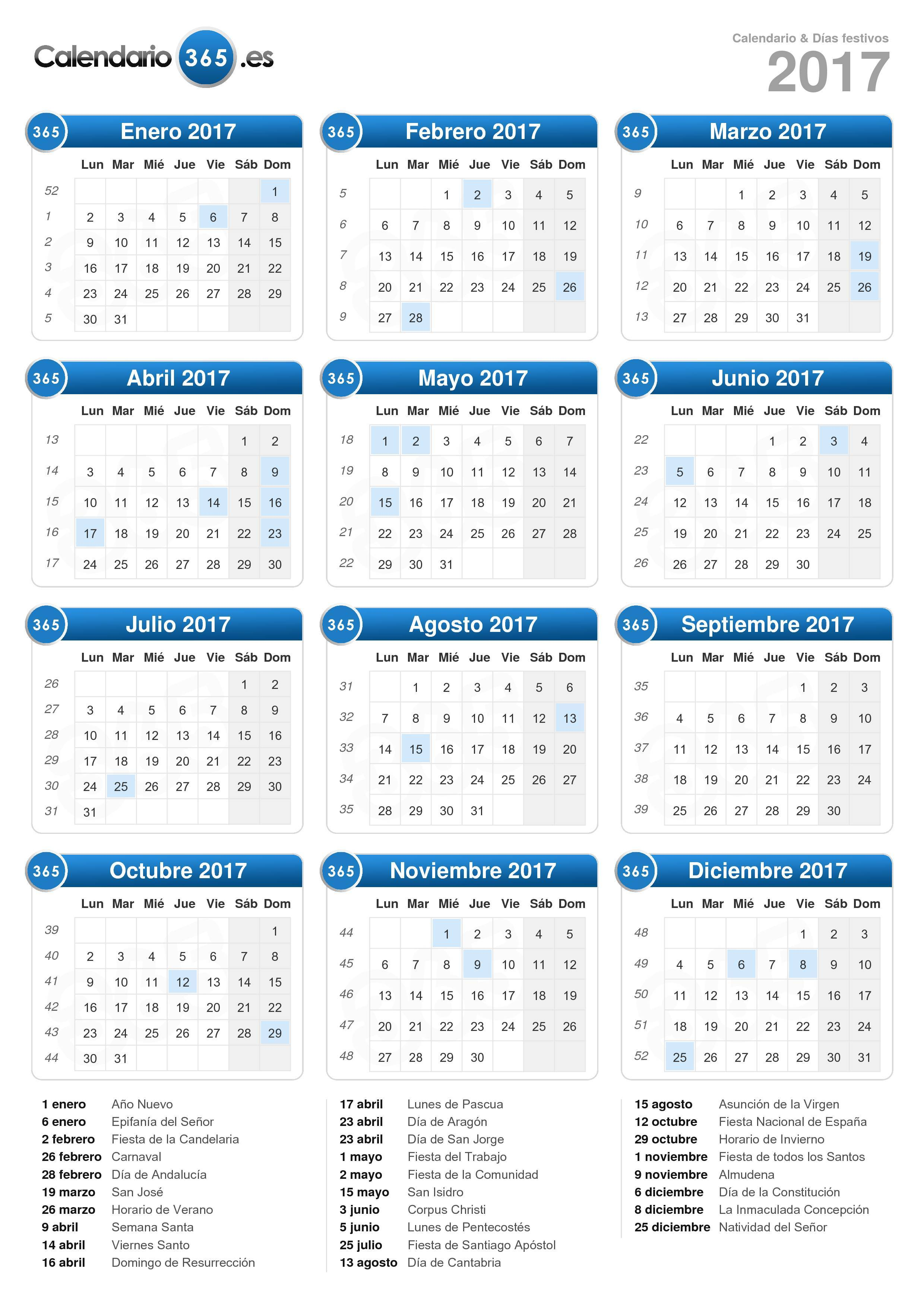 Calendario 2017 Calendario 2017 con lunas