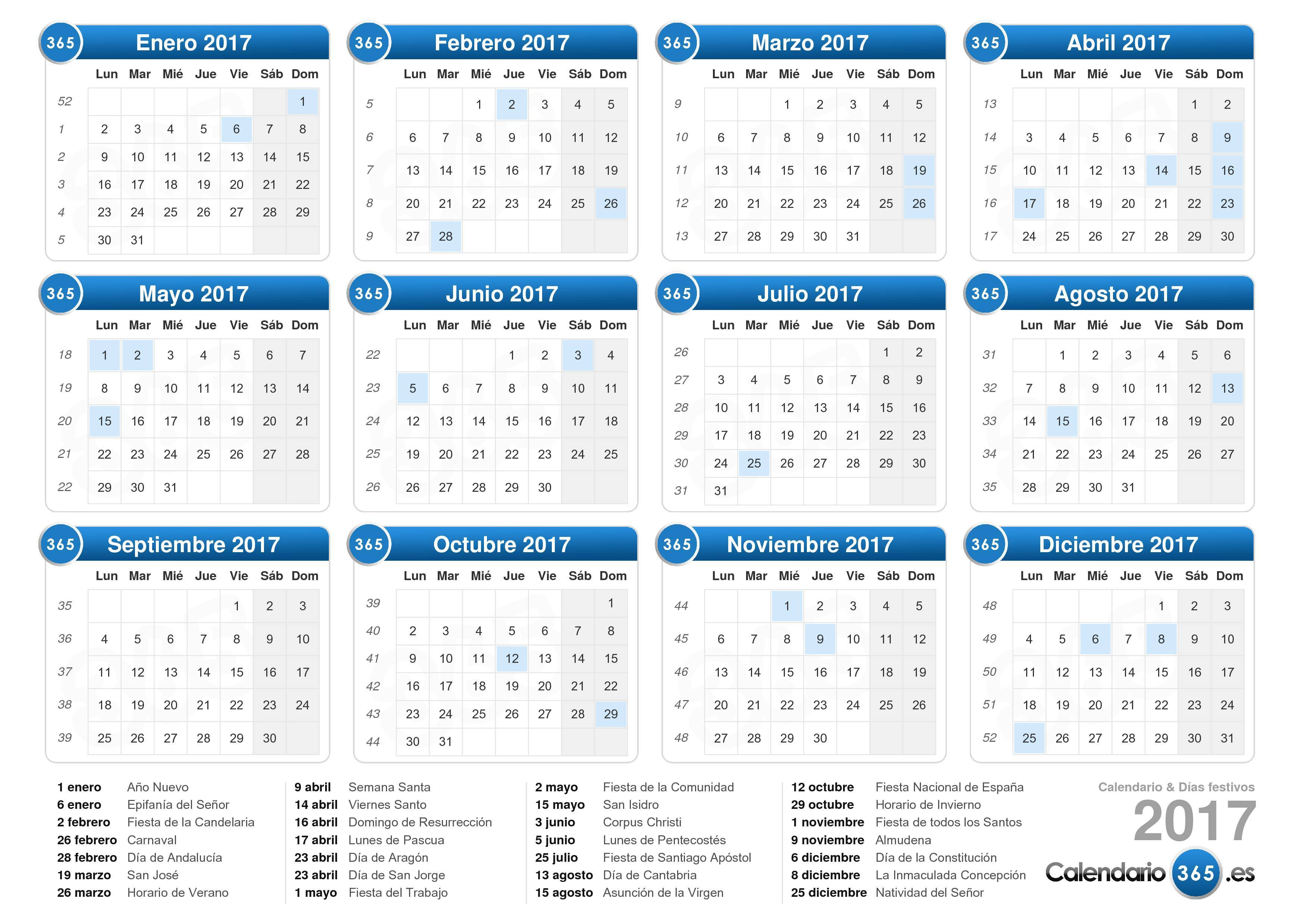Descargue el calendario 2017 con días festivos . (Formato apaisado ...