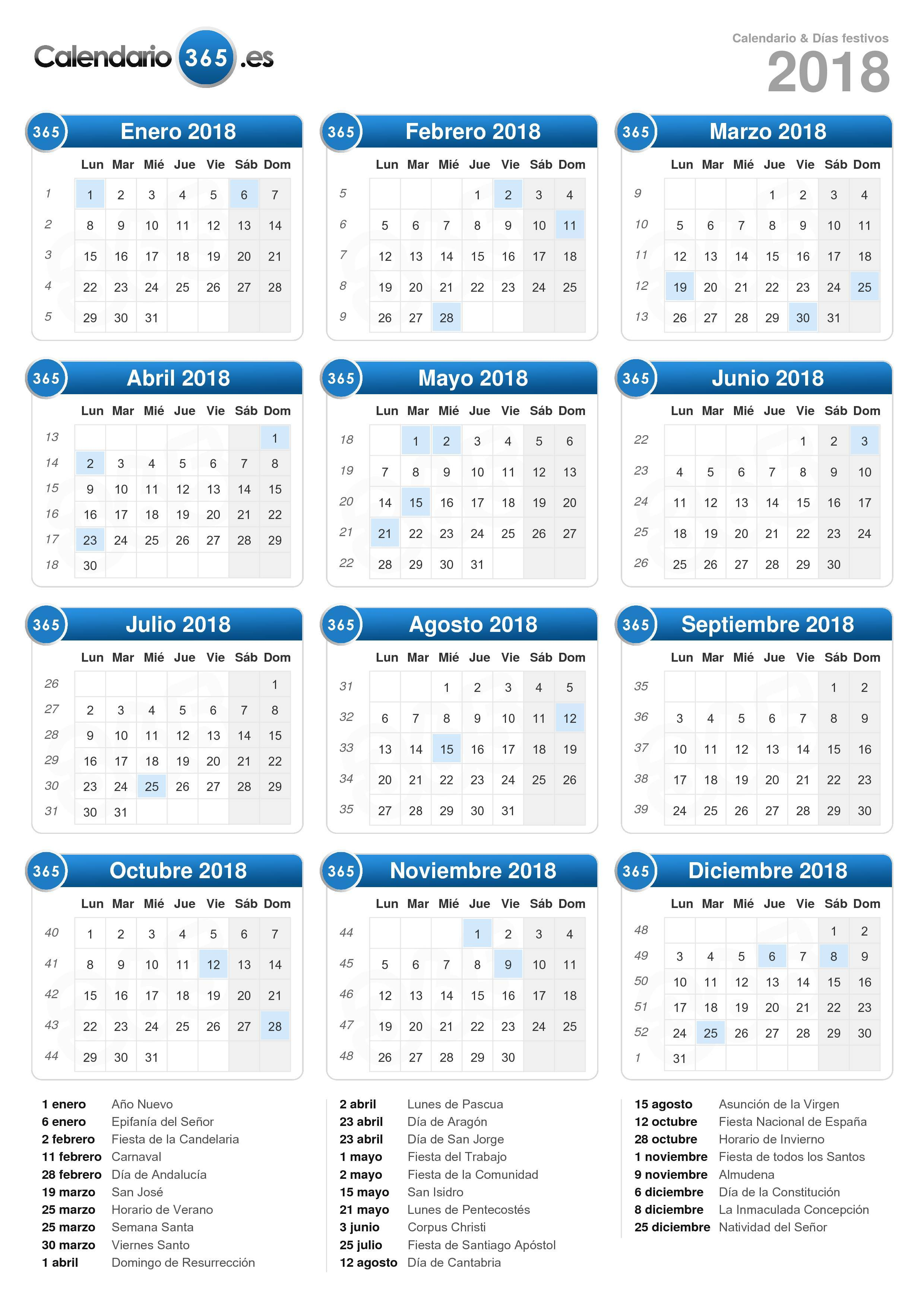 Calendario Con Semanas 2019 Colombia.Calendario 2018