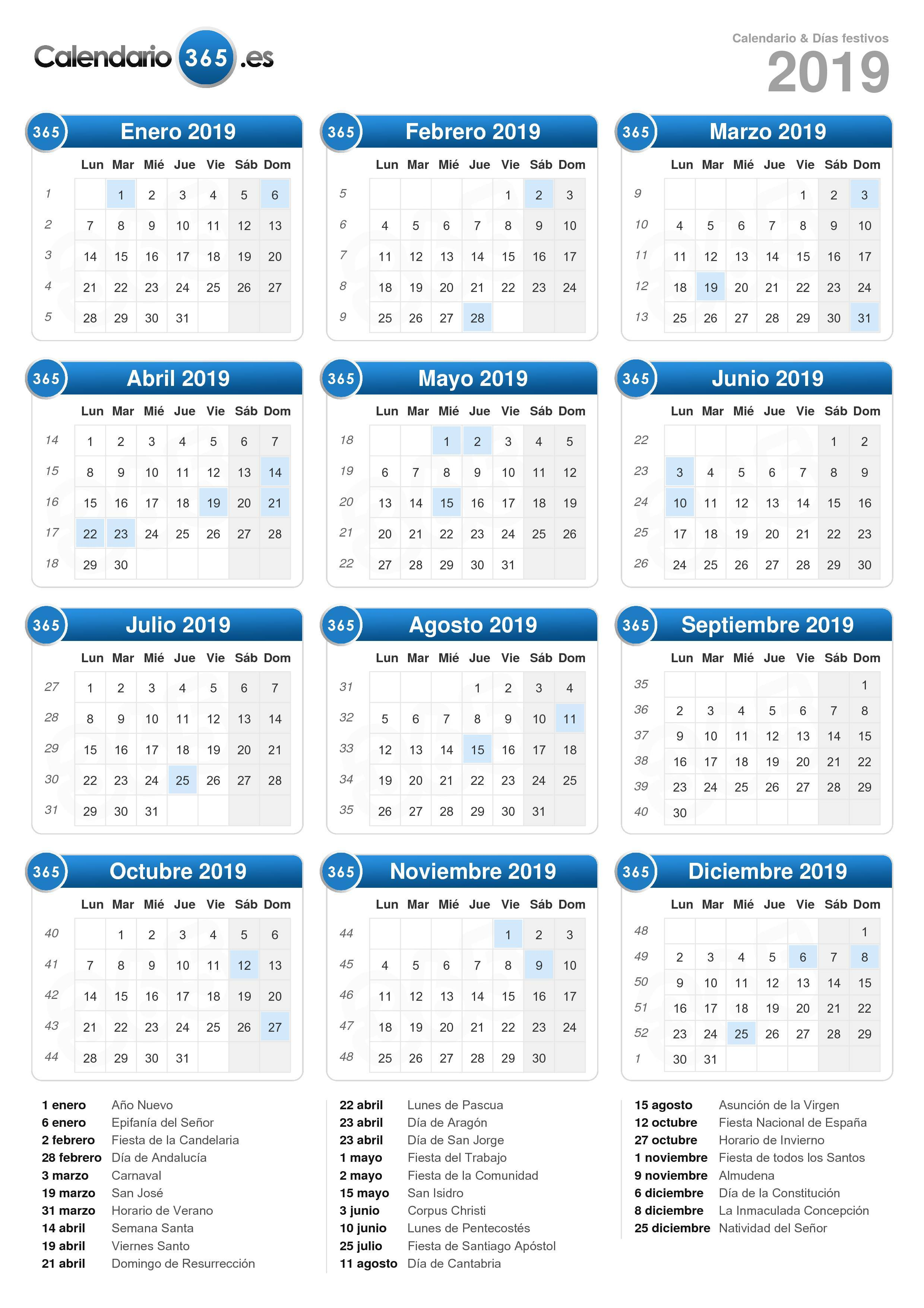 Calendario Laboral Espana 2019.Calendario 2019