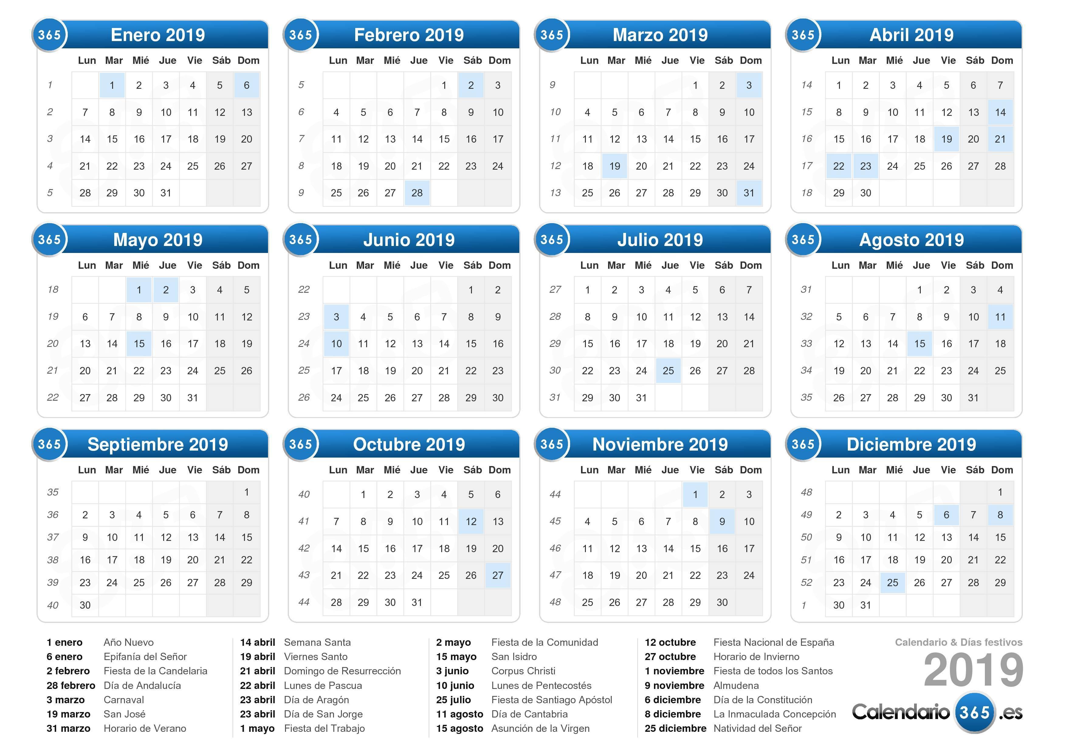 Calendario Con Excel.Calendario 2019