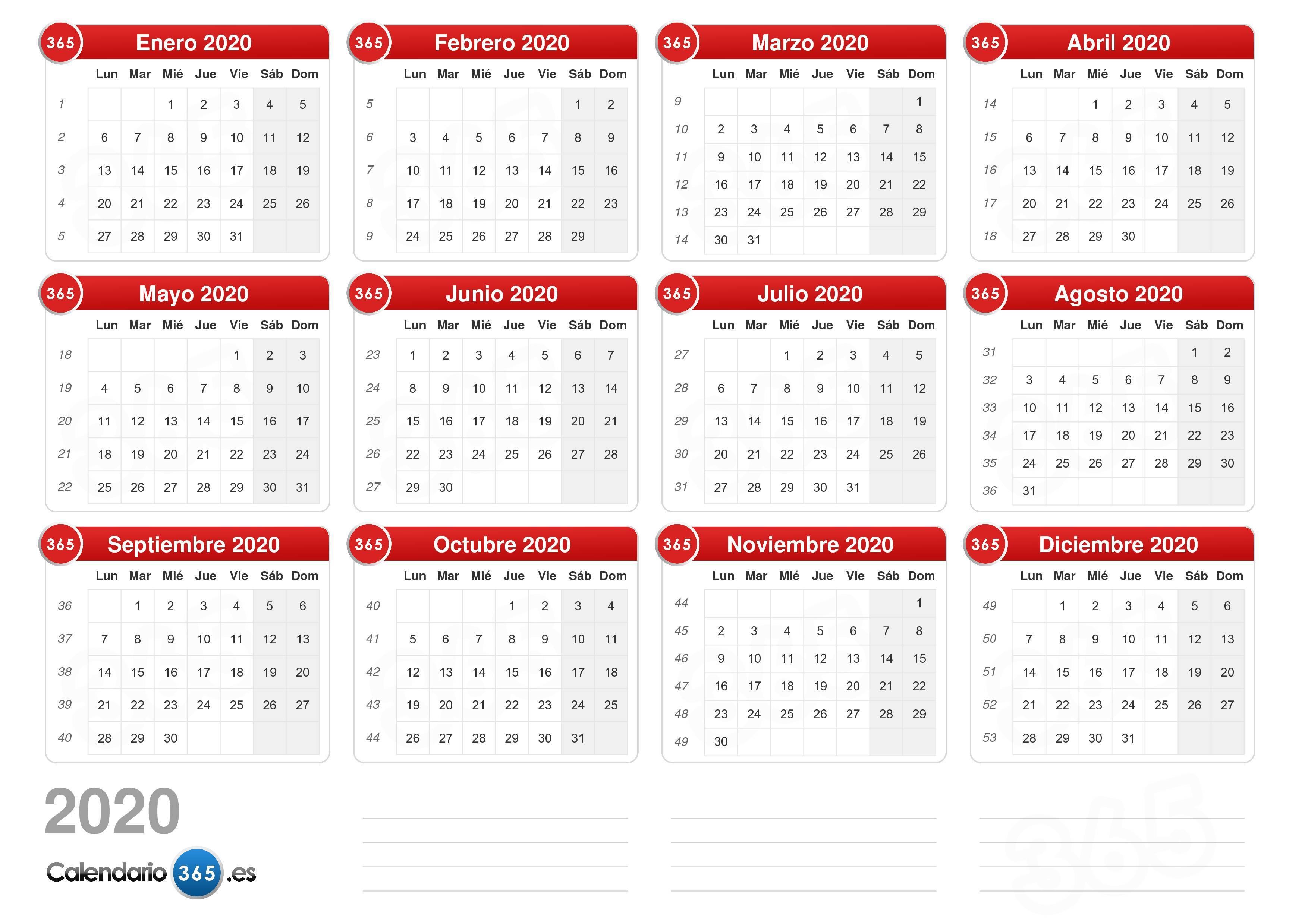 Calendario Junio Julio 2020.Calendario 2020