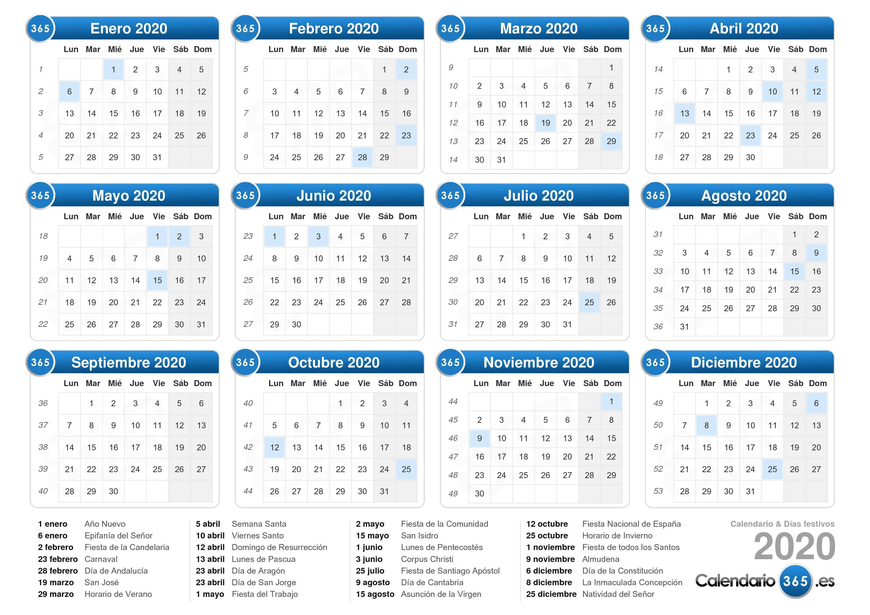 Descargue el calendario 2020 con días festivos . (Formato apaisado ...