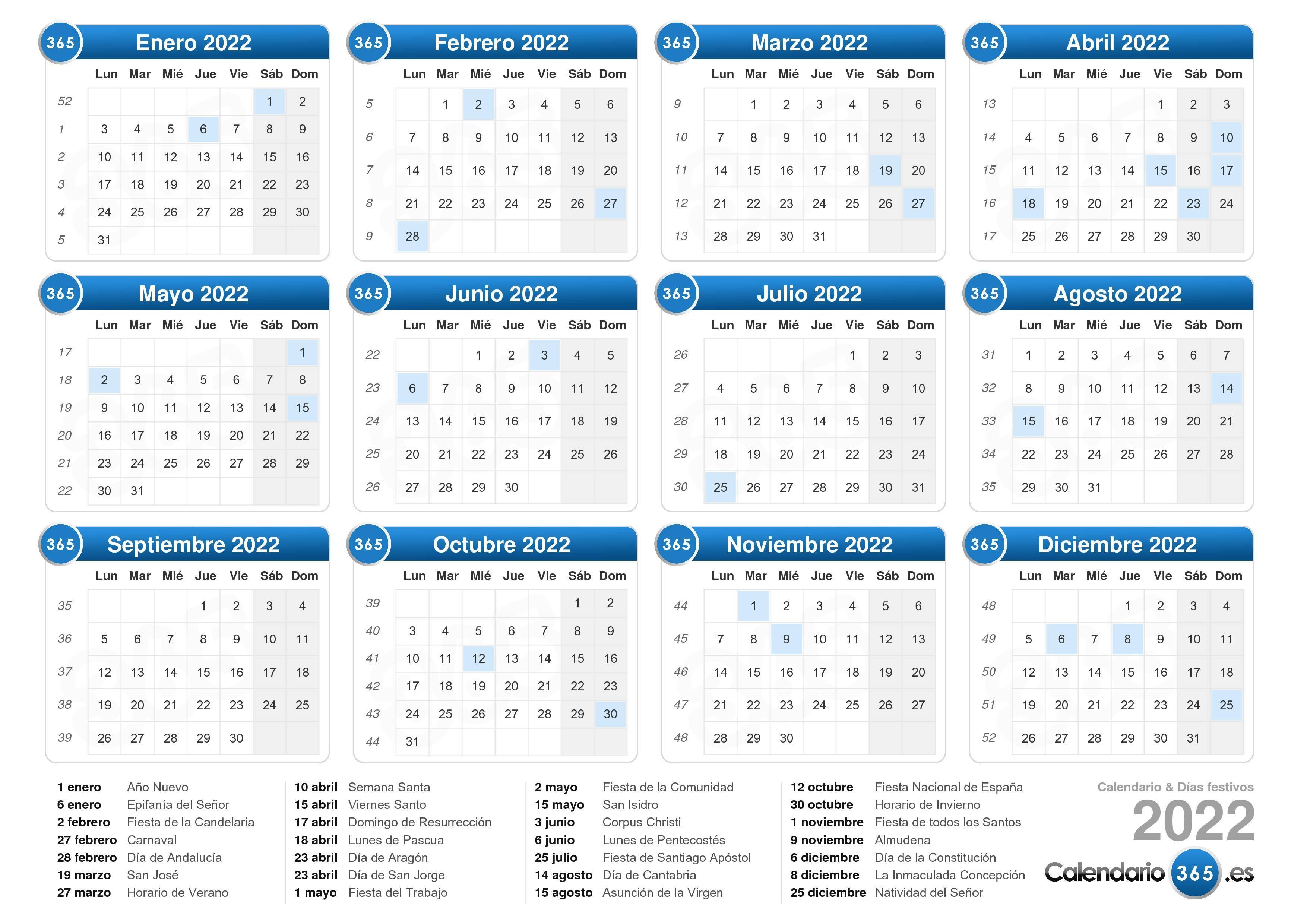 Descargue el calendario 2022 con días festivos . (Formato apaisado ...