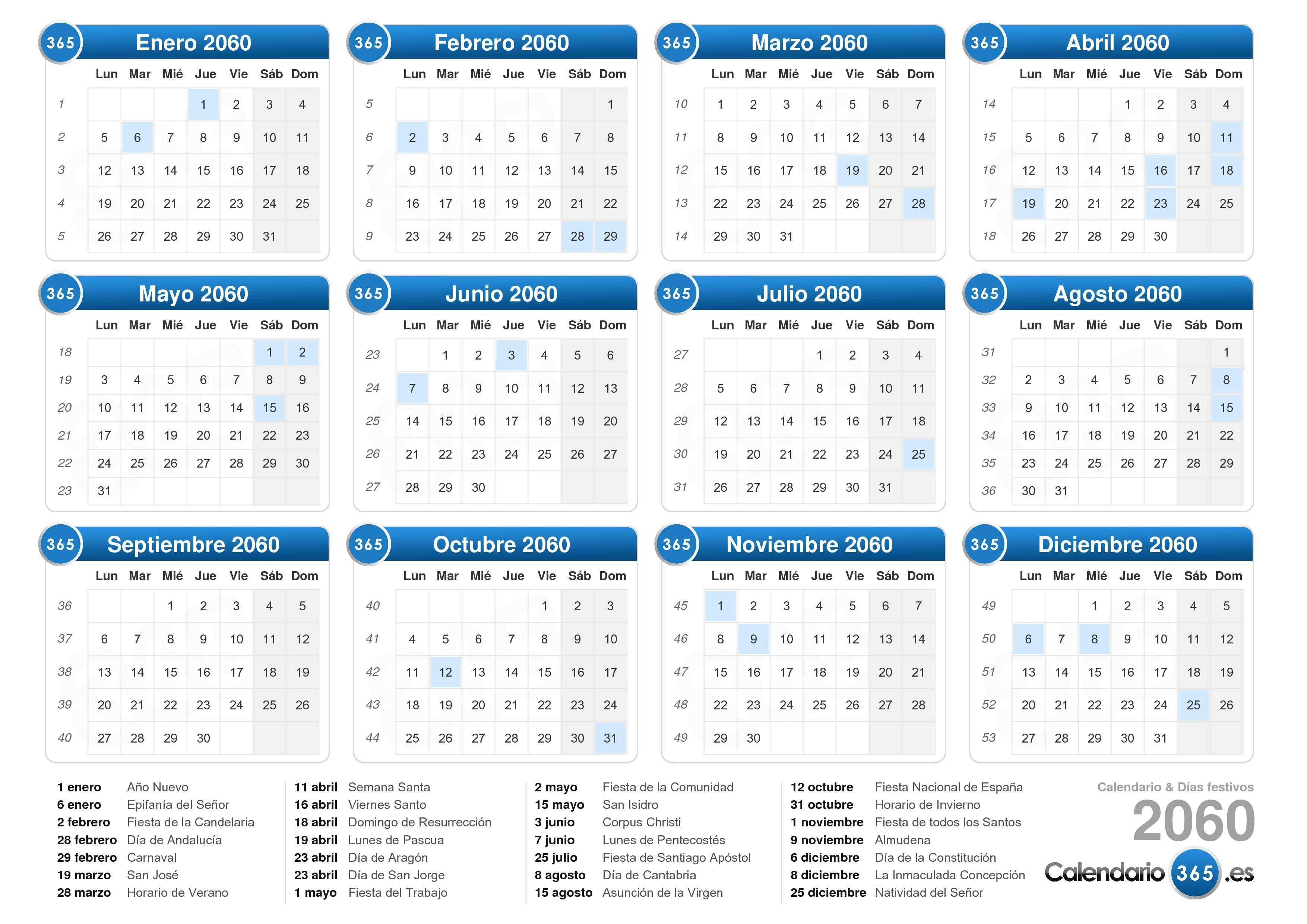 Calendario 2060.Calendario 2060
