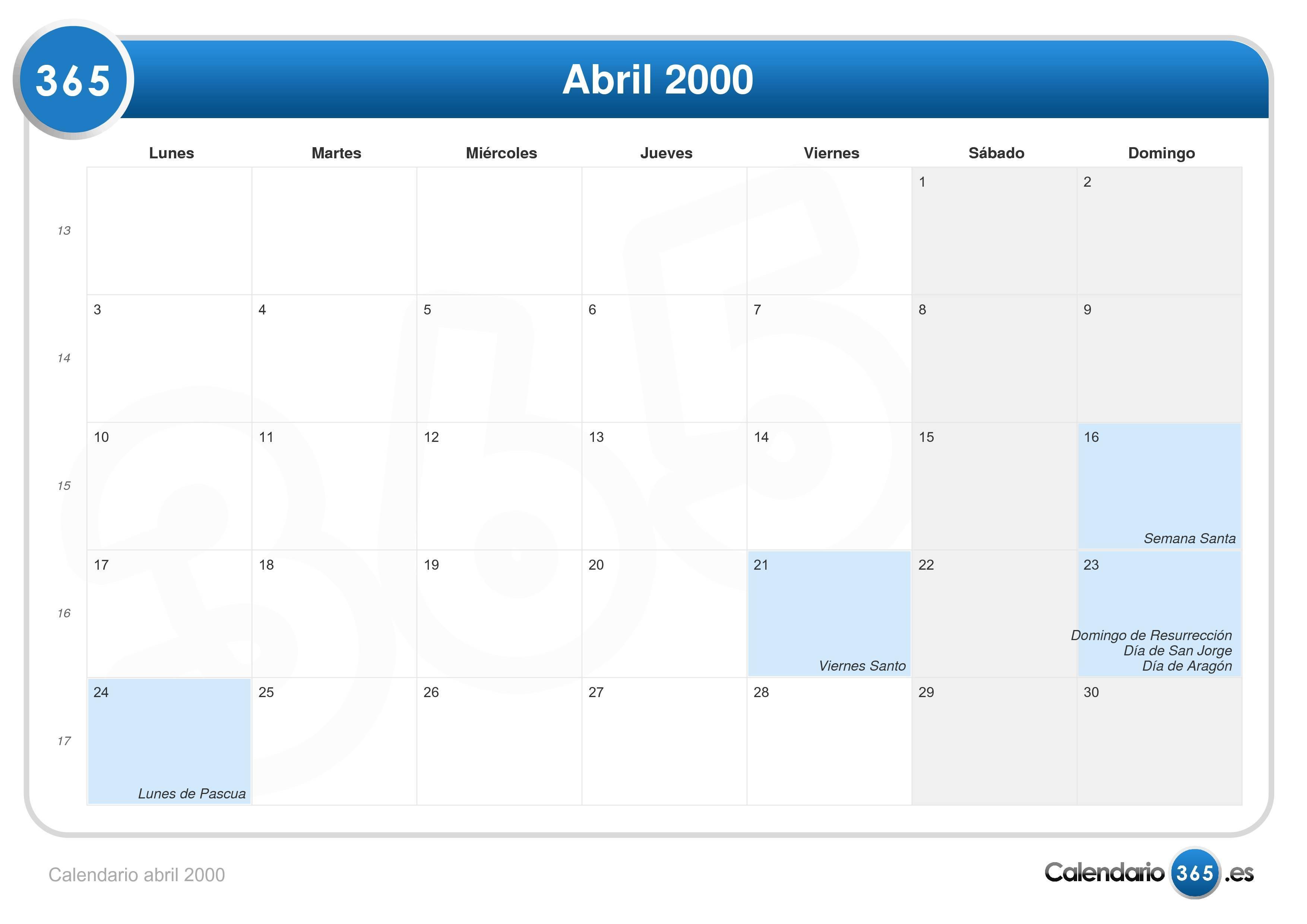 Calendario Del 2000.Calendario Abril 2000