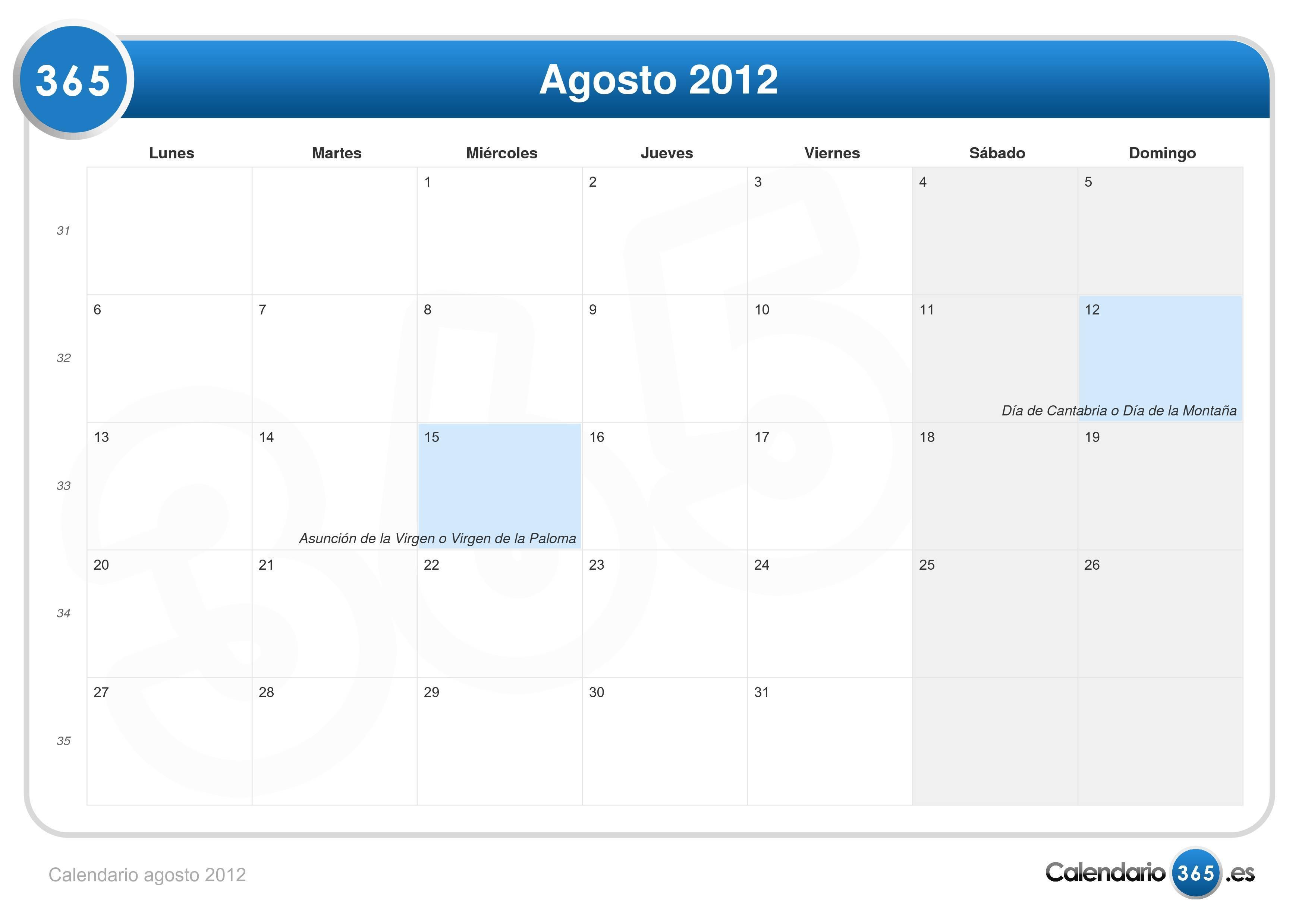 Calendario Agosto 2012