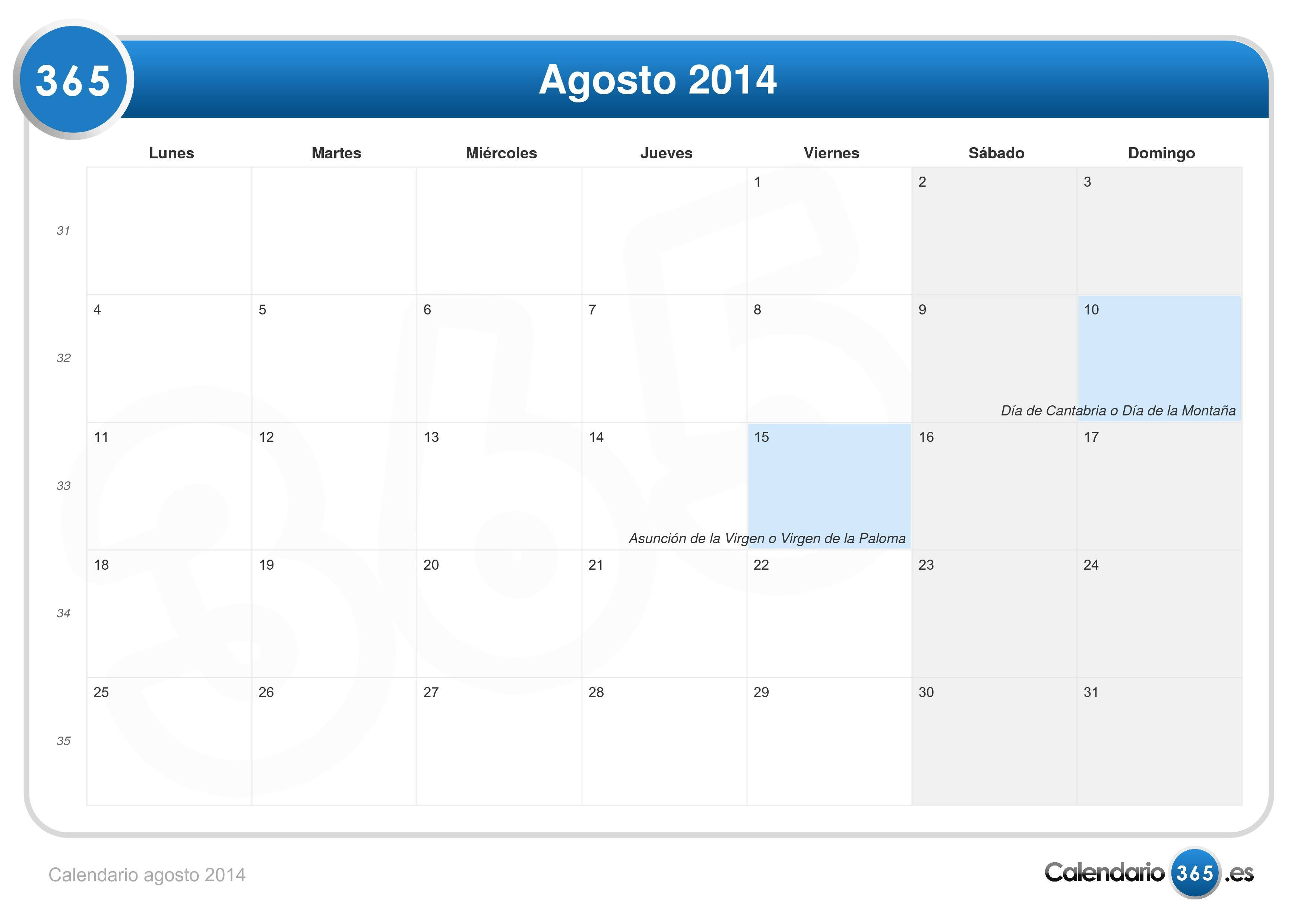 15 dias en agosto: