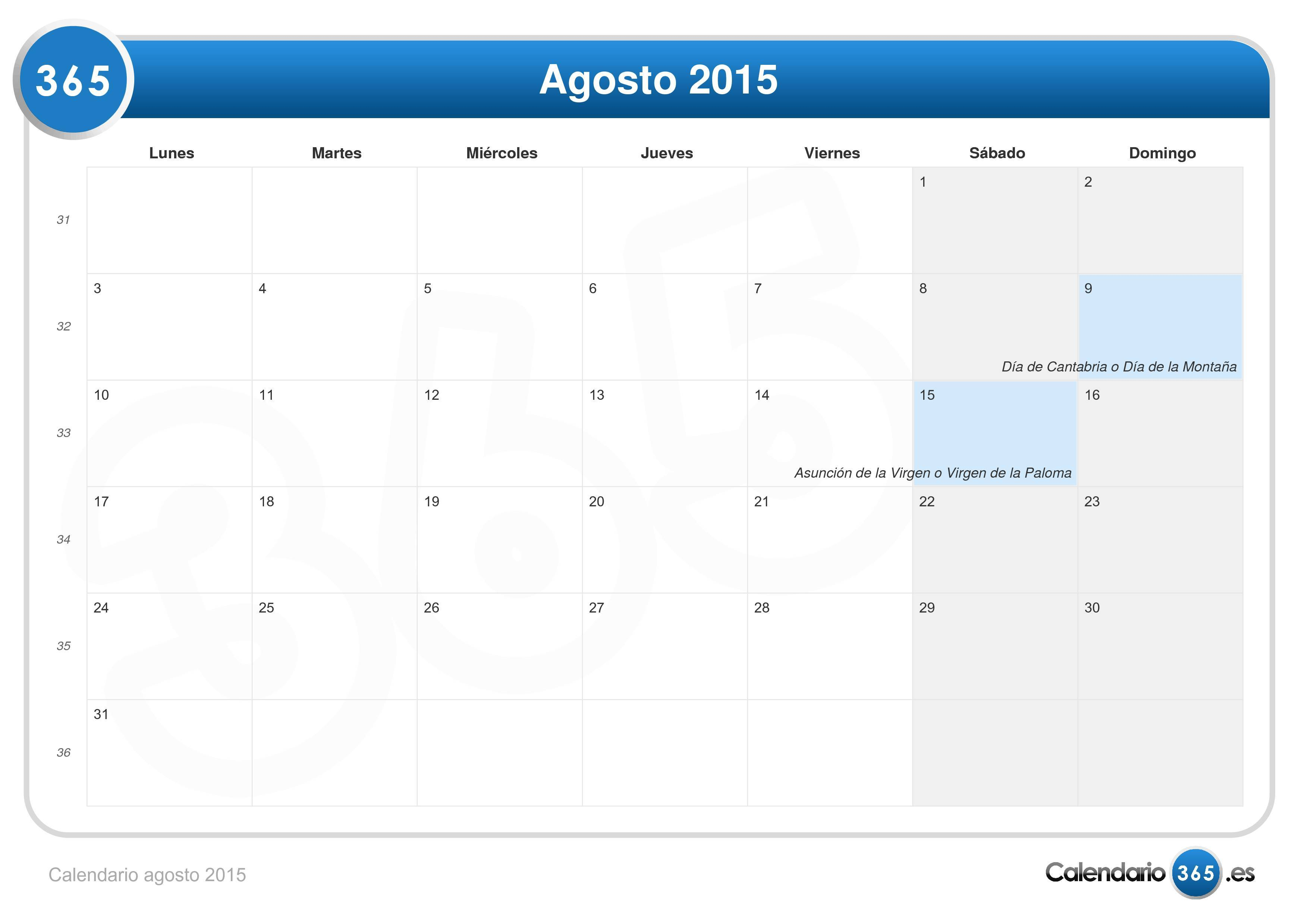Calendario agosto 2015 for Calendario ferias