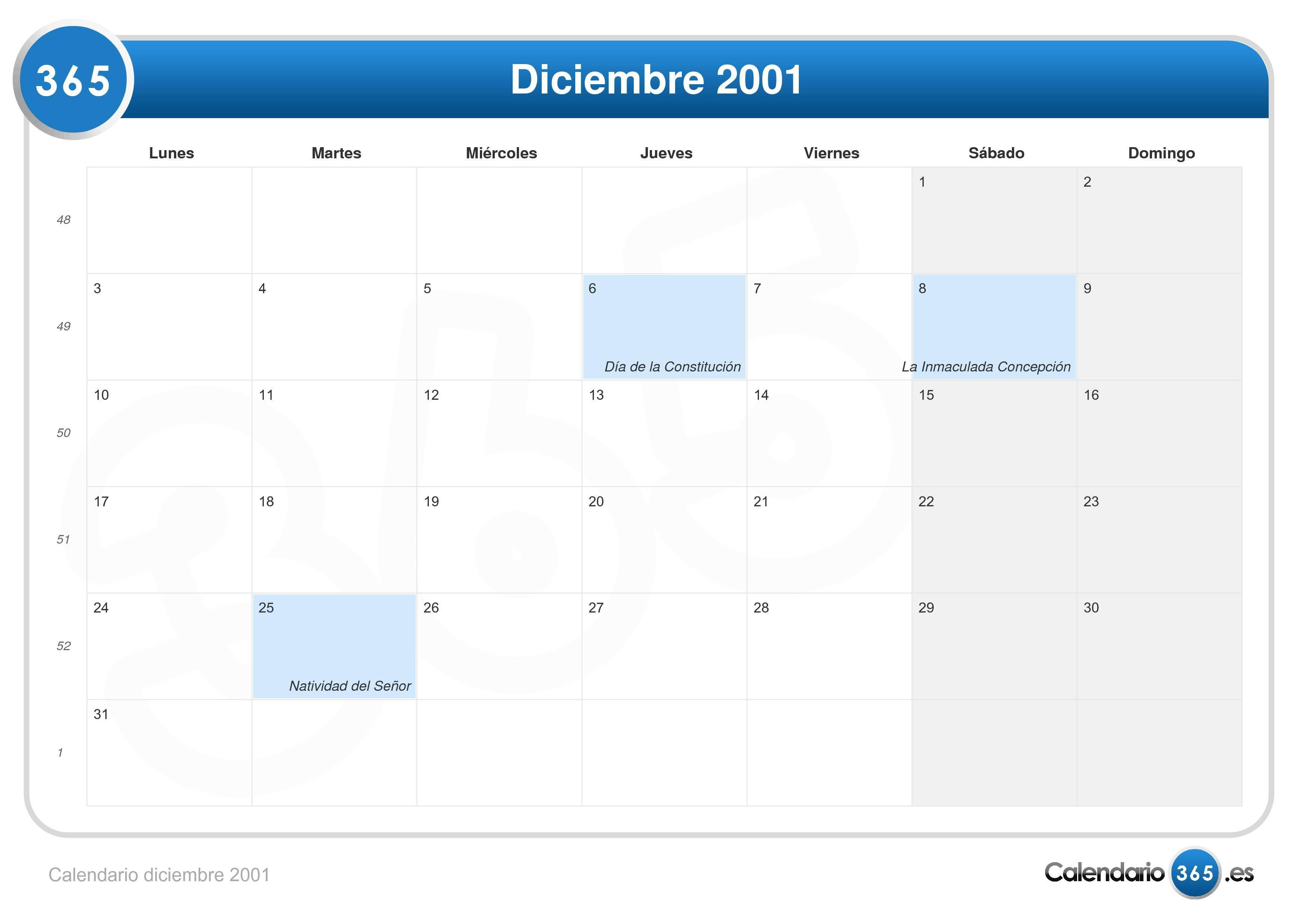 Calendario 2001.Calendario Diciembre 2001