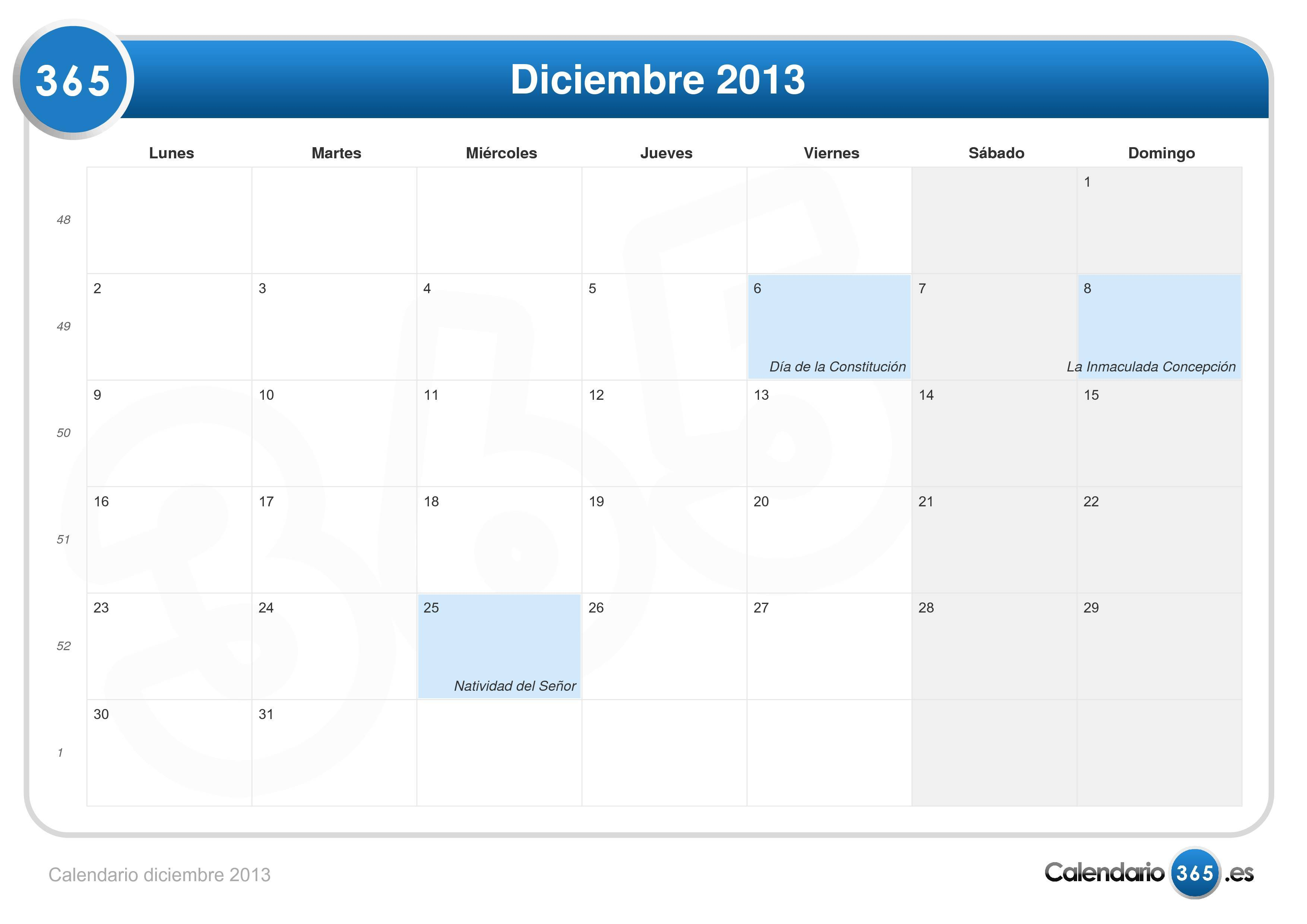 Calendario diciembre 2013