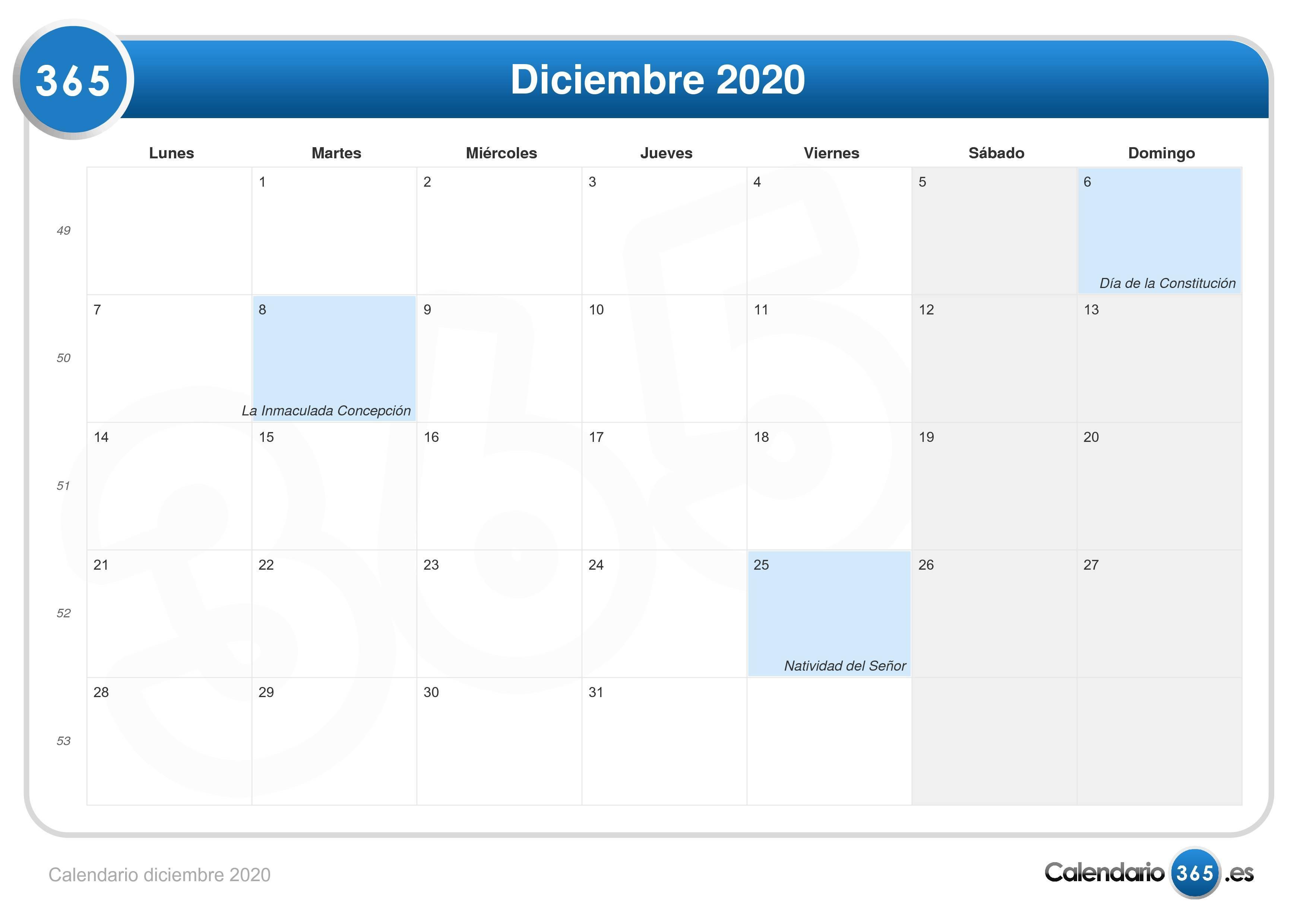 Calendario 2020 2020.Calendario Diciembre 2020