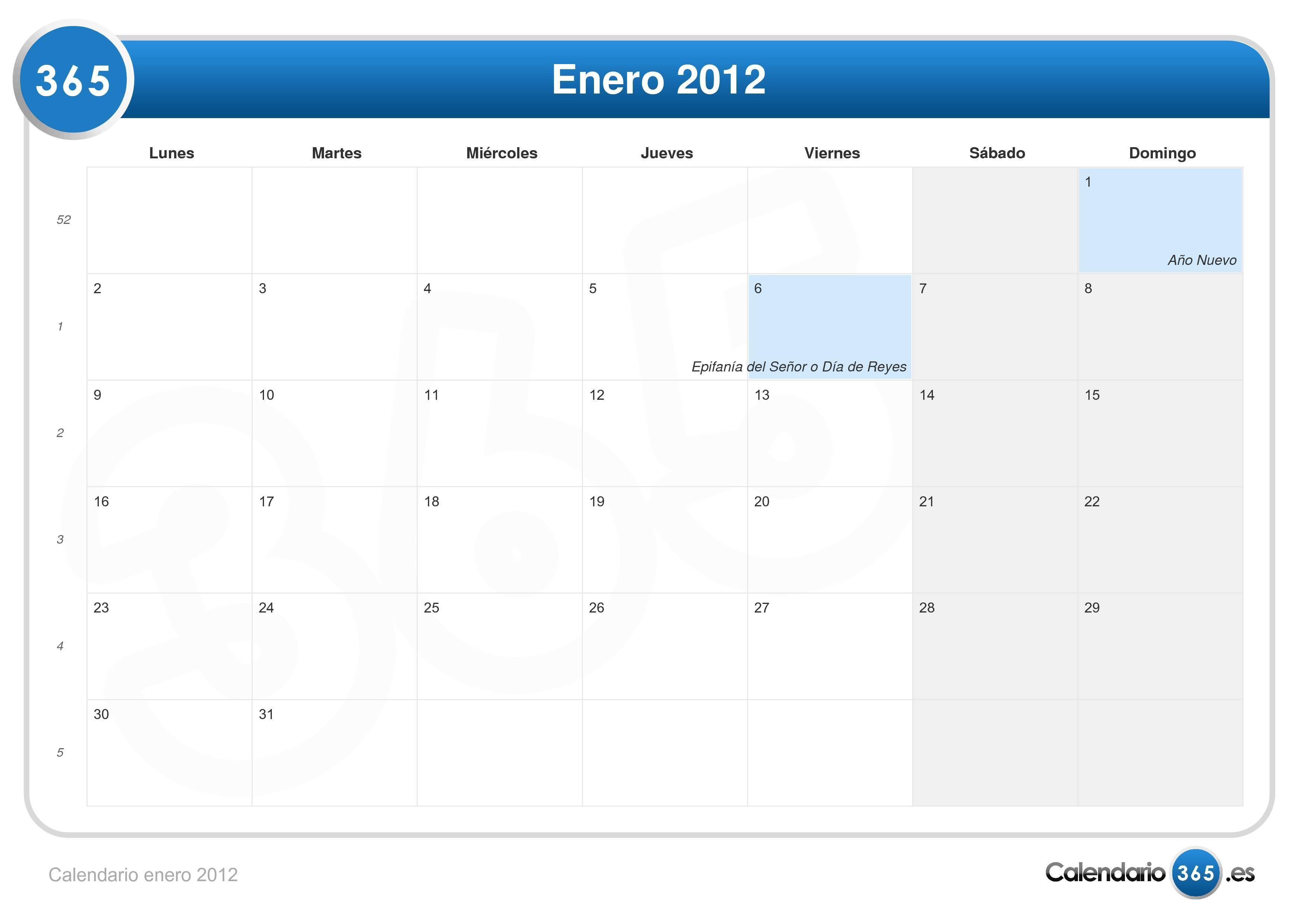 Calendario Enero 2012