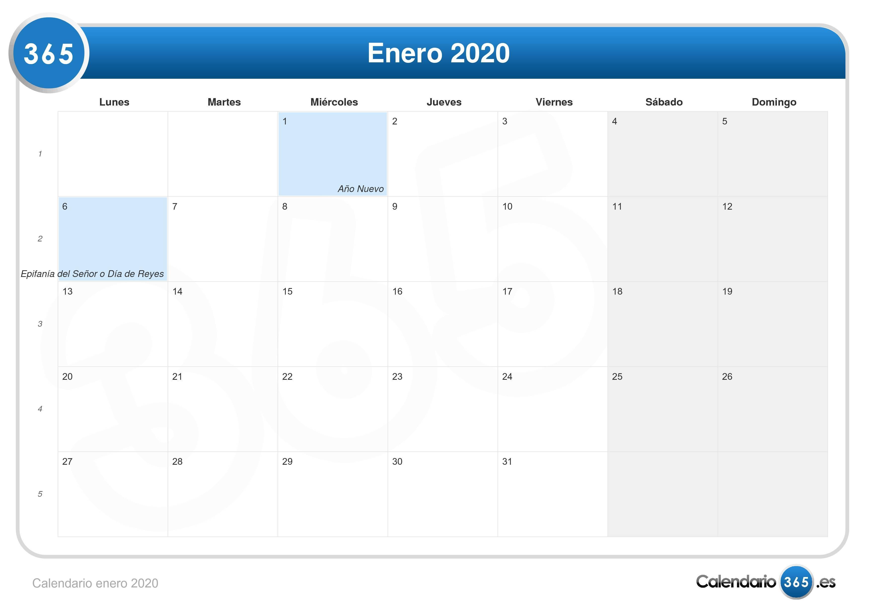 Calendario Colombia 2020.Calendario Enero 2020
