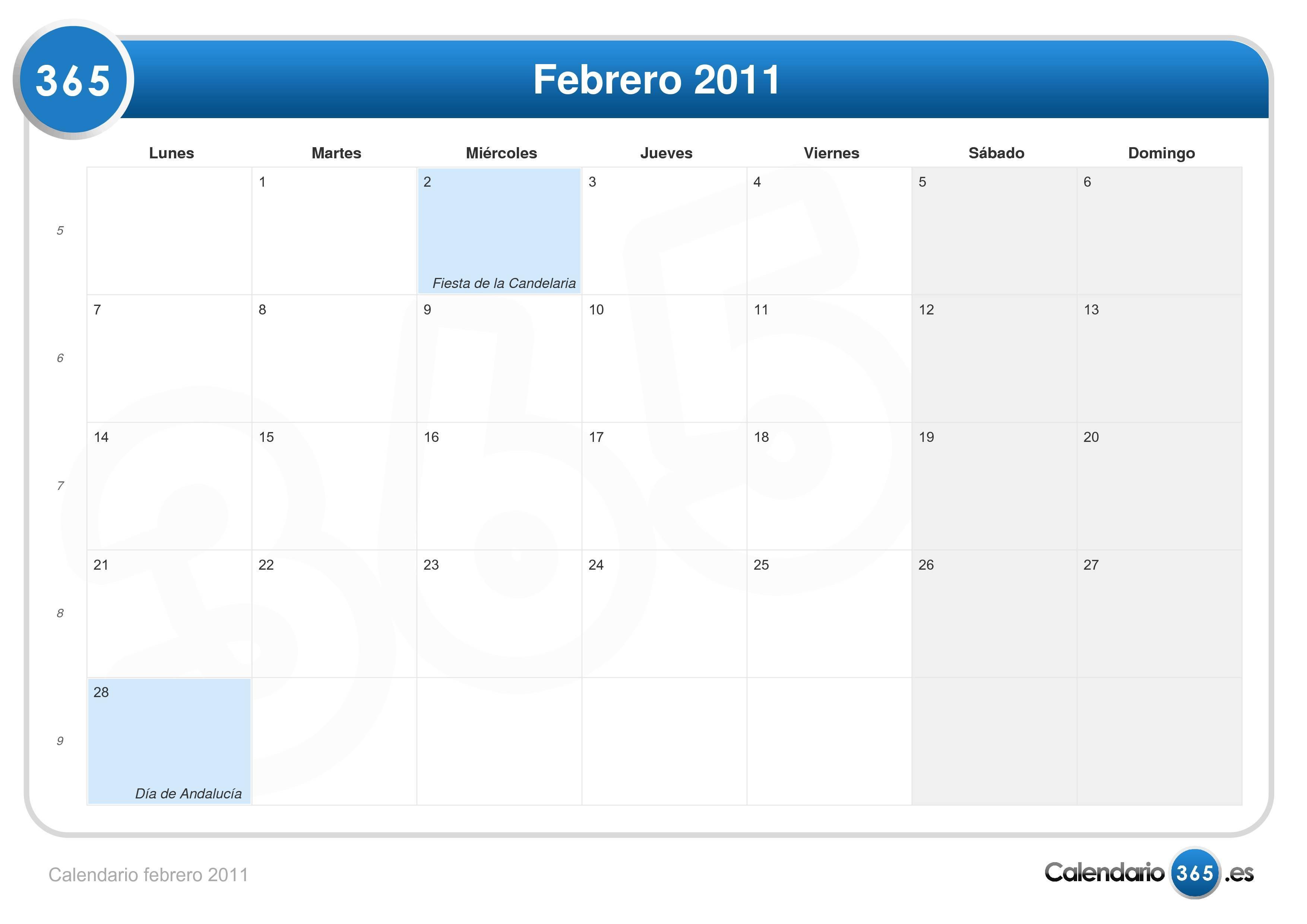 Calendario 2011 Espana.Calendario Febrero 2011