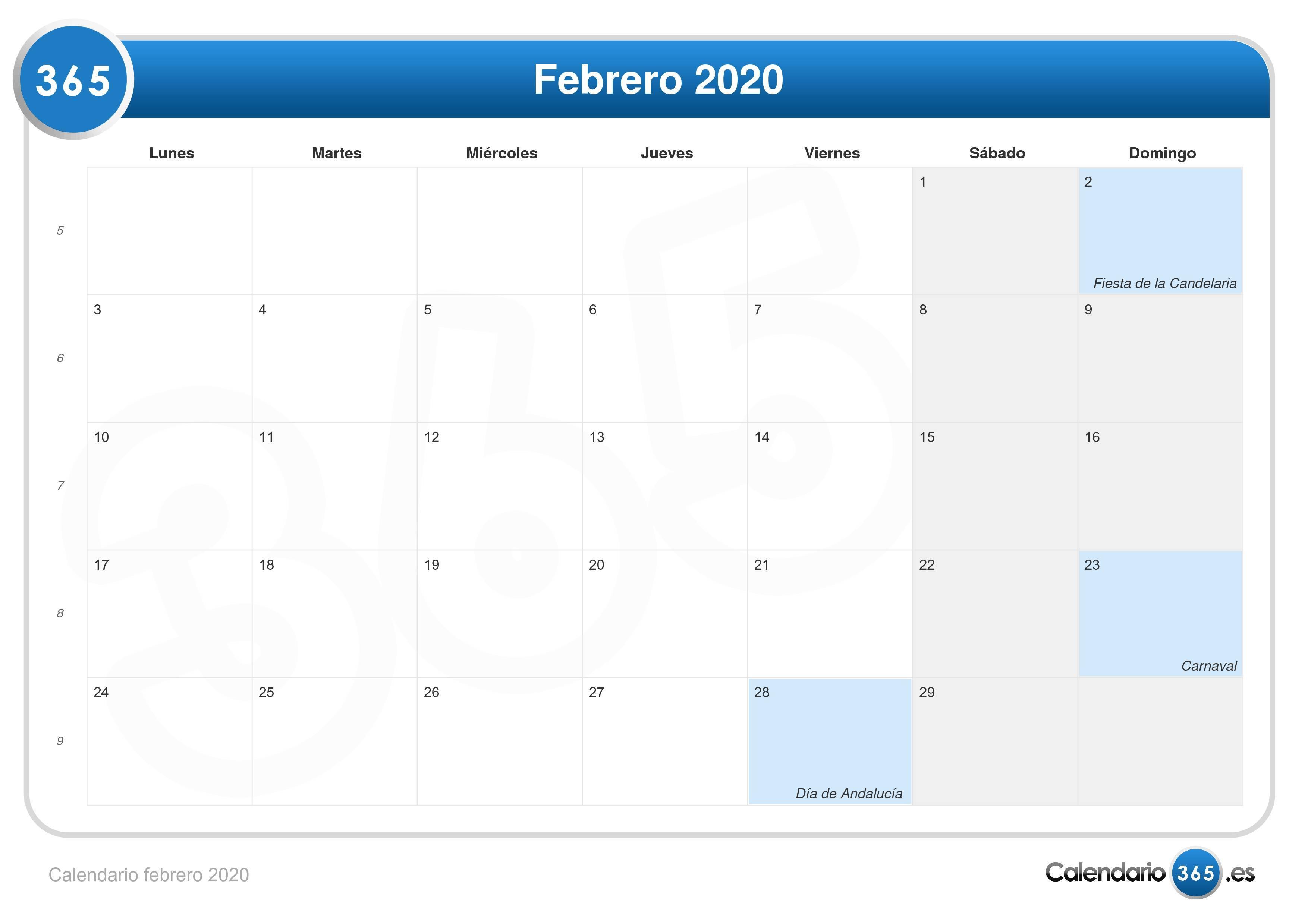 calendario febrero 2020