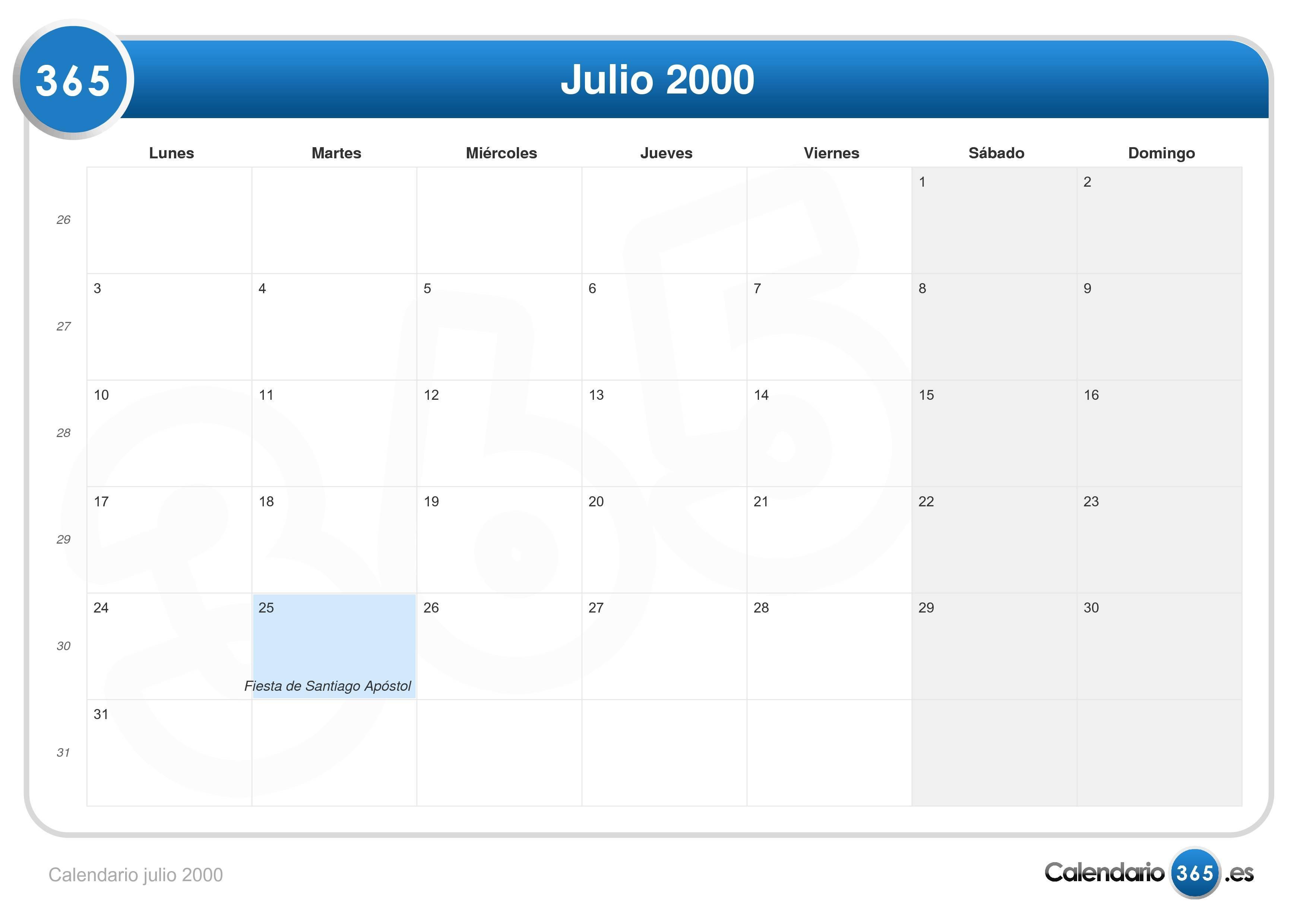 Calendario Julio Del 2000.Calendario Julio 2000