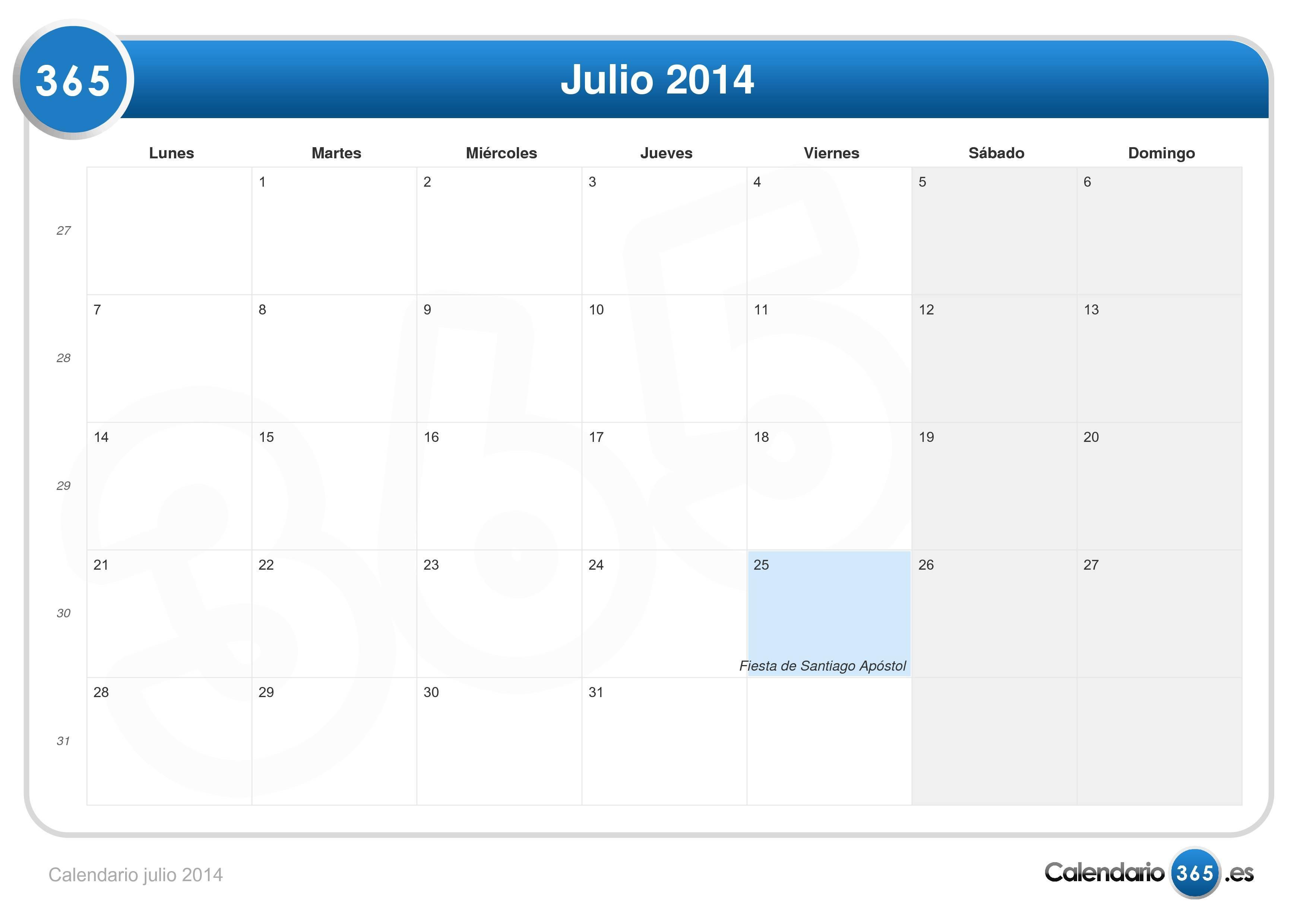 Calendario Mes de Julio 2014 Calendario Julio 2014 103.753