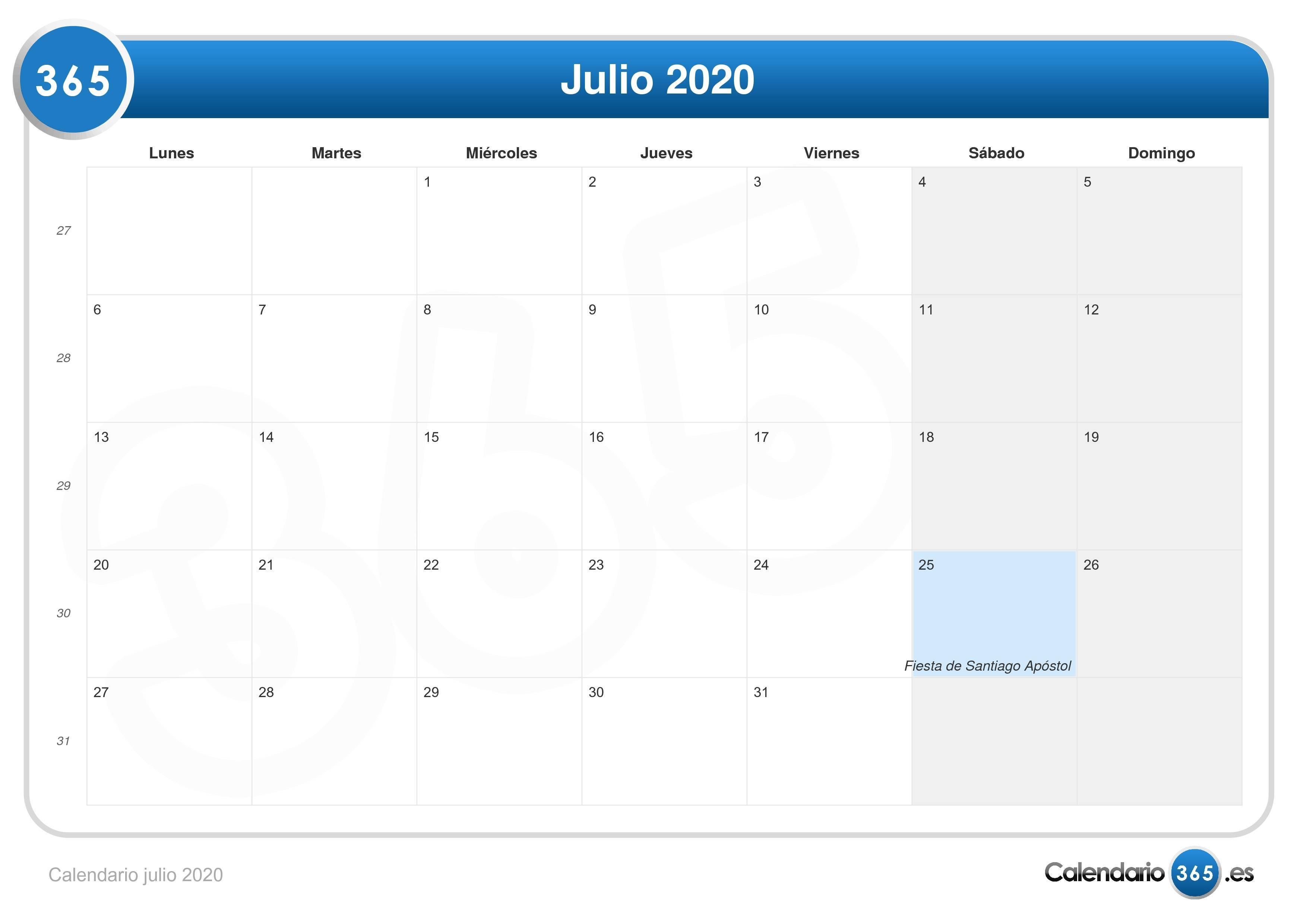 Calendario Julio 2020 Para Imprimir.Calendario Julio 2020