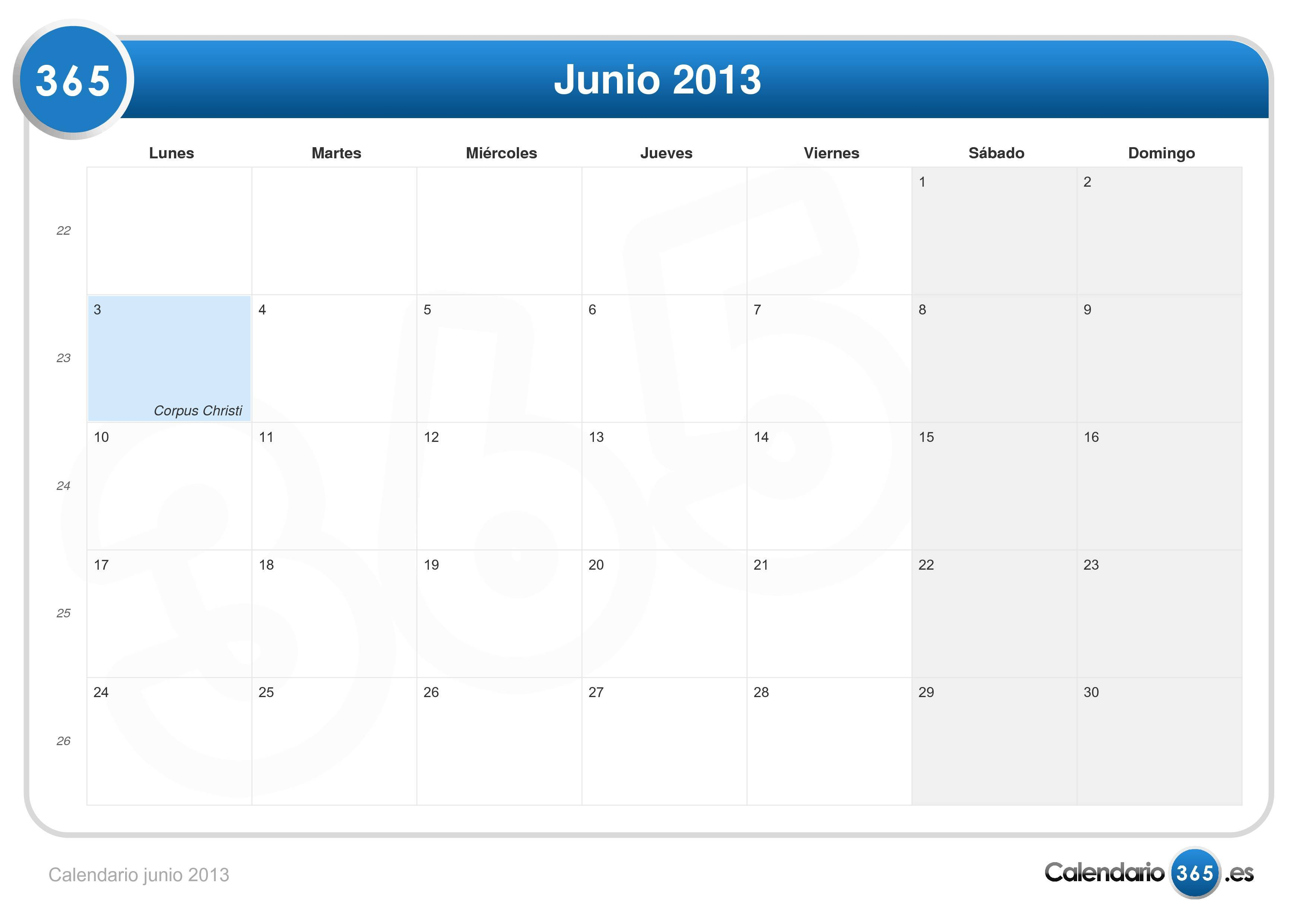 Calendario Junio 2013