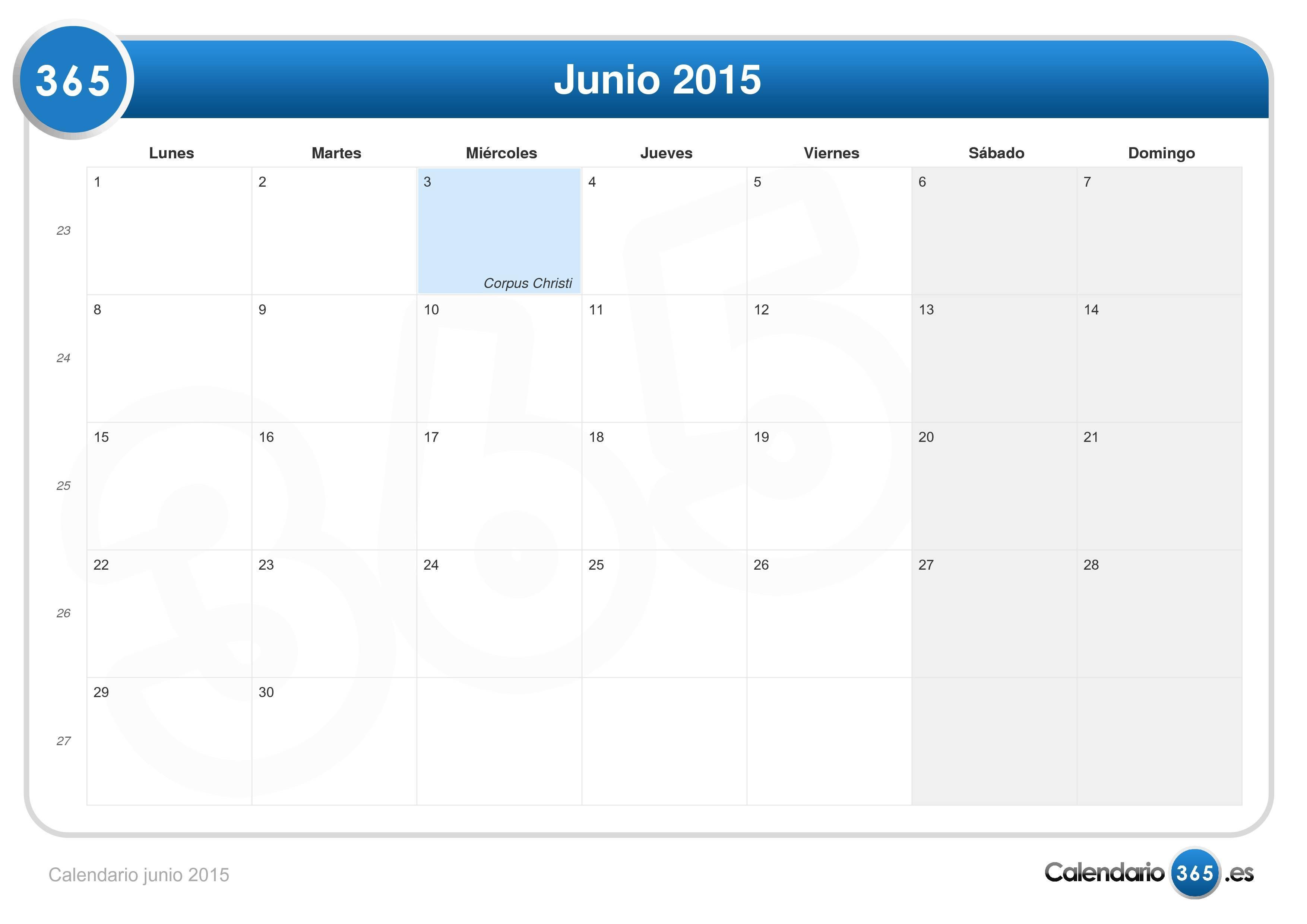 calendario junio 2015