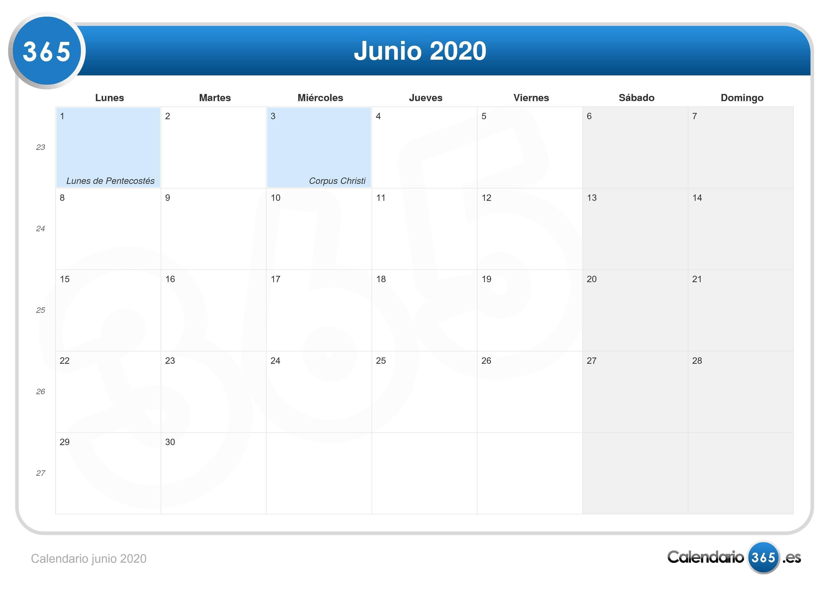 Calendario Lunar 2020 Espana.Calendario Junio 2020