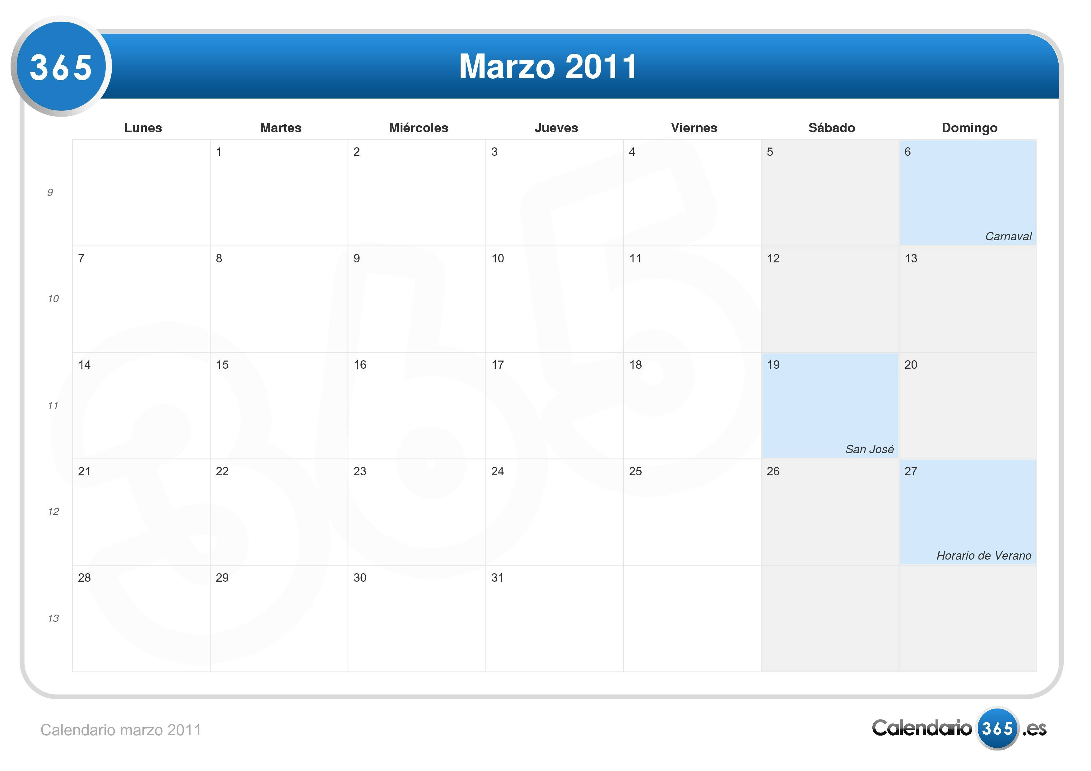 2011 Calendario.Calendario Marzo 2011