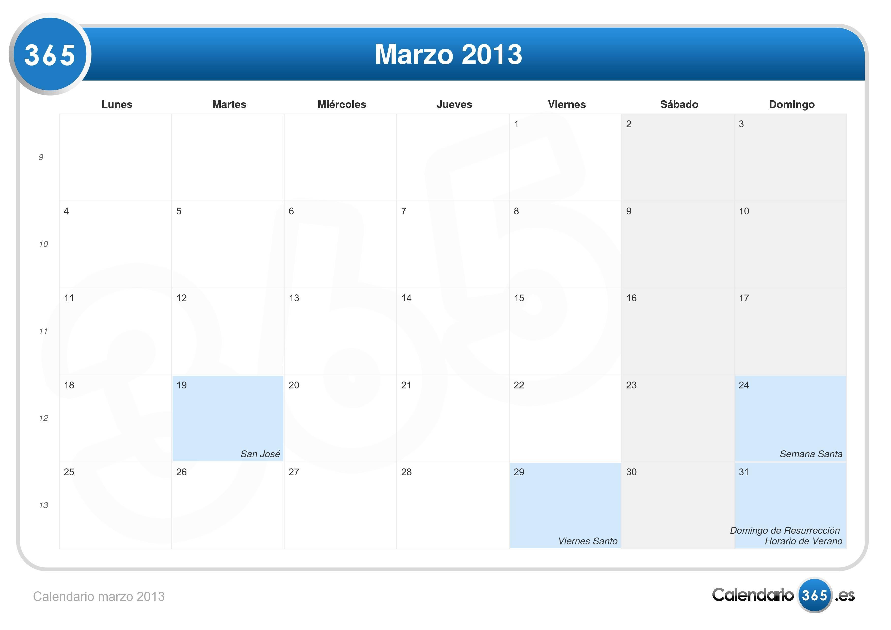 Calendario De Marzo 2013