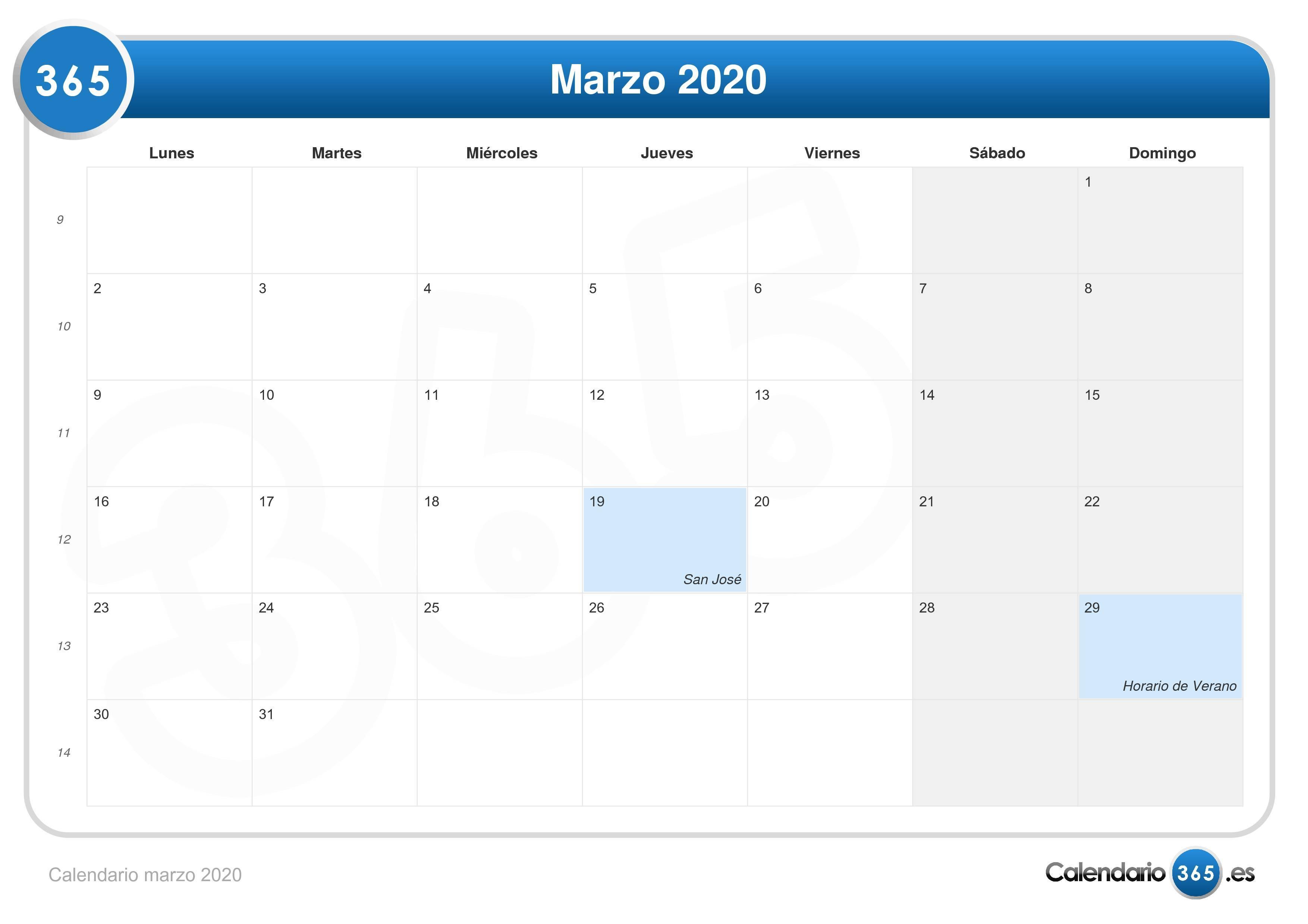 Calendario 2020 Marzo Abril.Calendario Marzo 2020