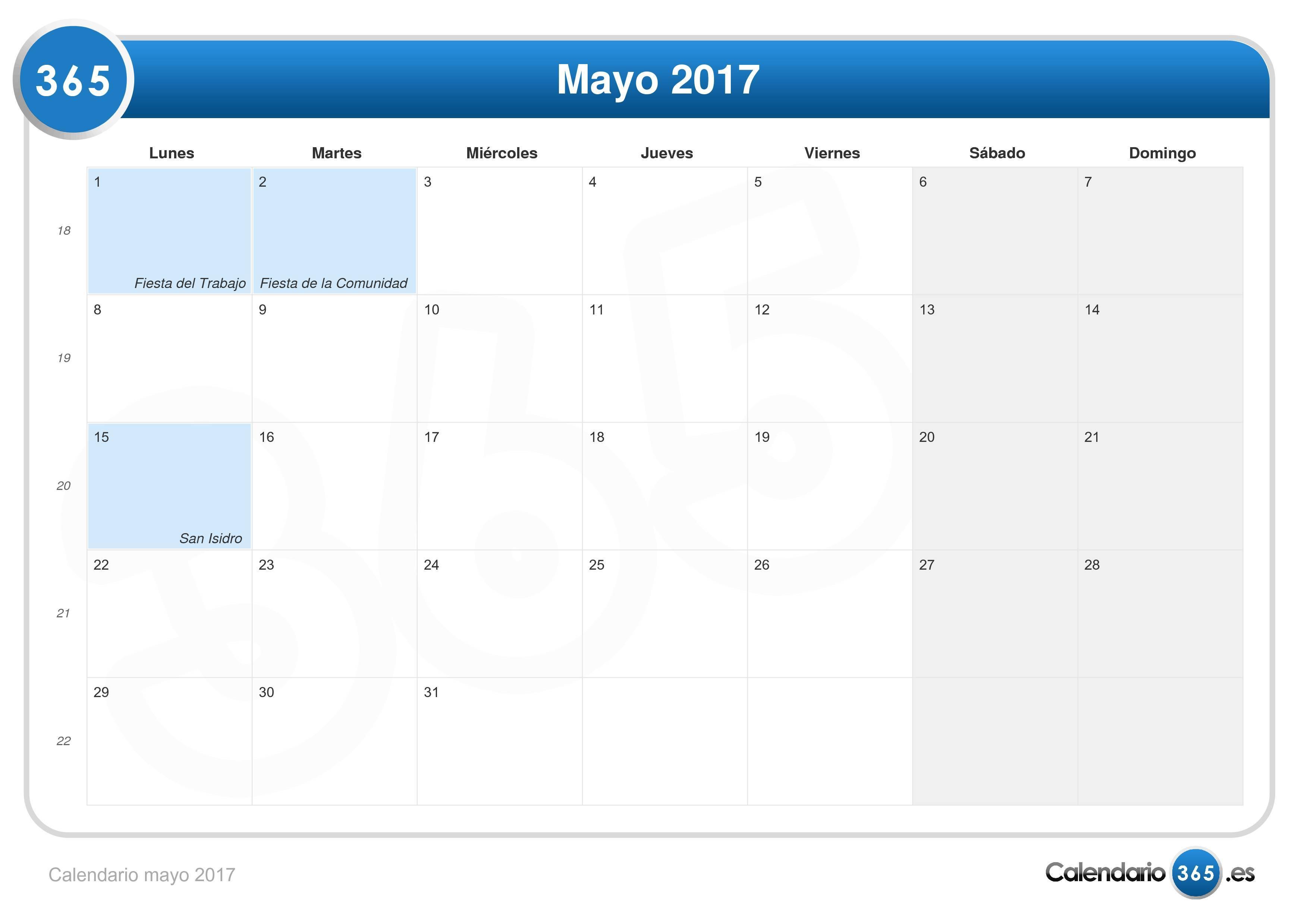 Calendario mayo 2017 for Calendario lunar mayo