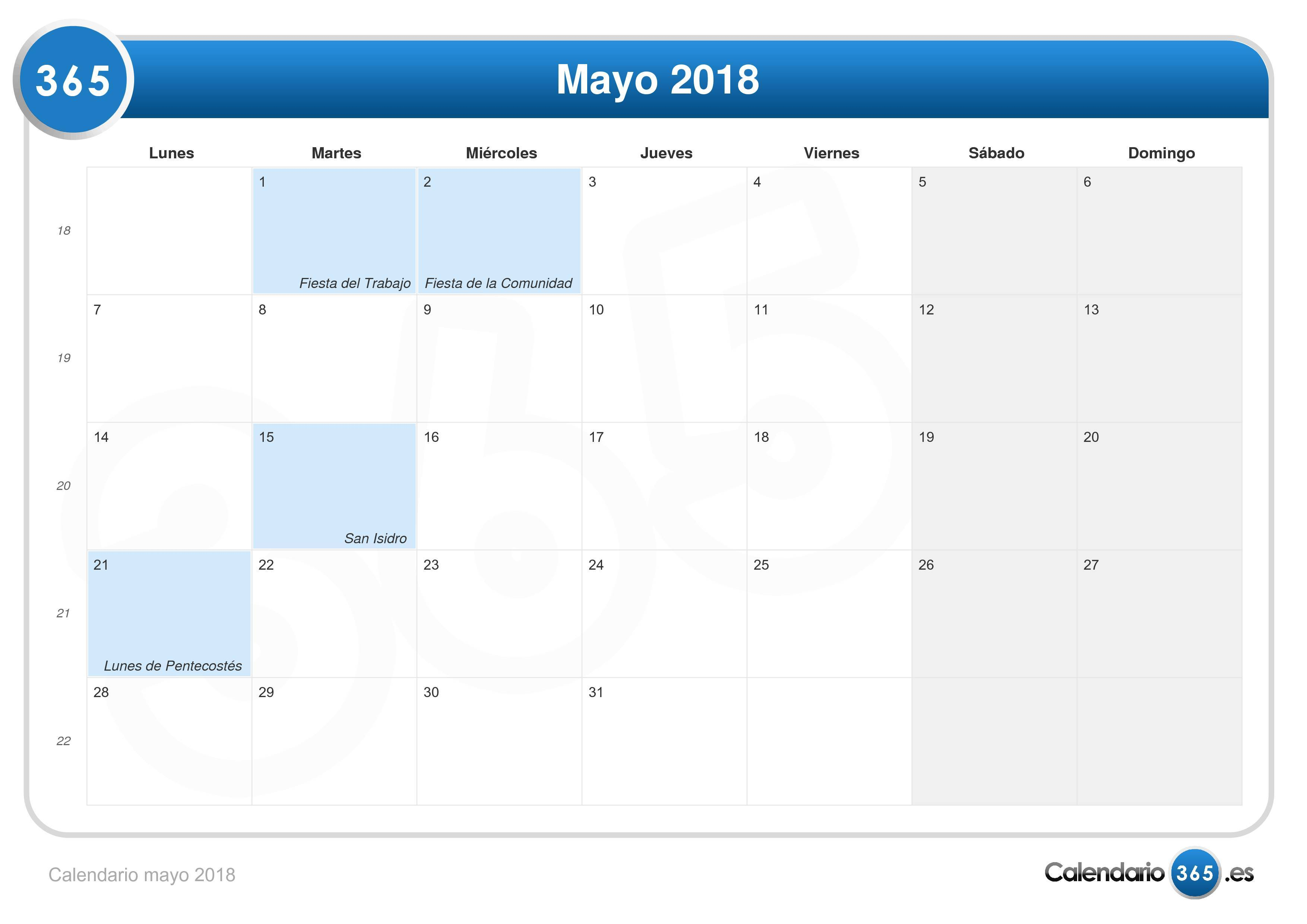Calendario mayo 2018g thecheapjerseys Image collections