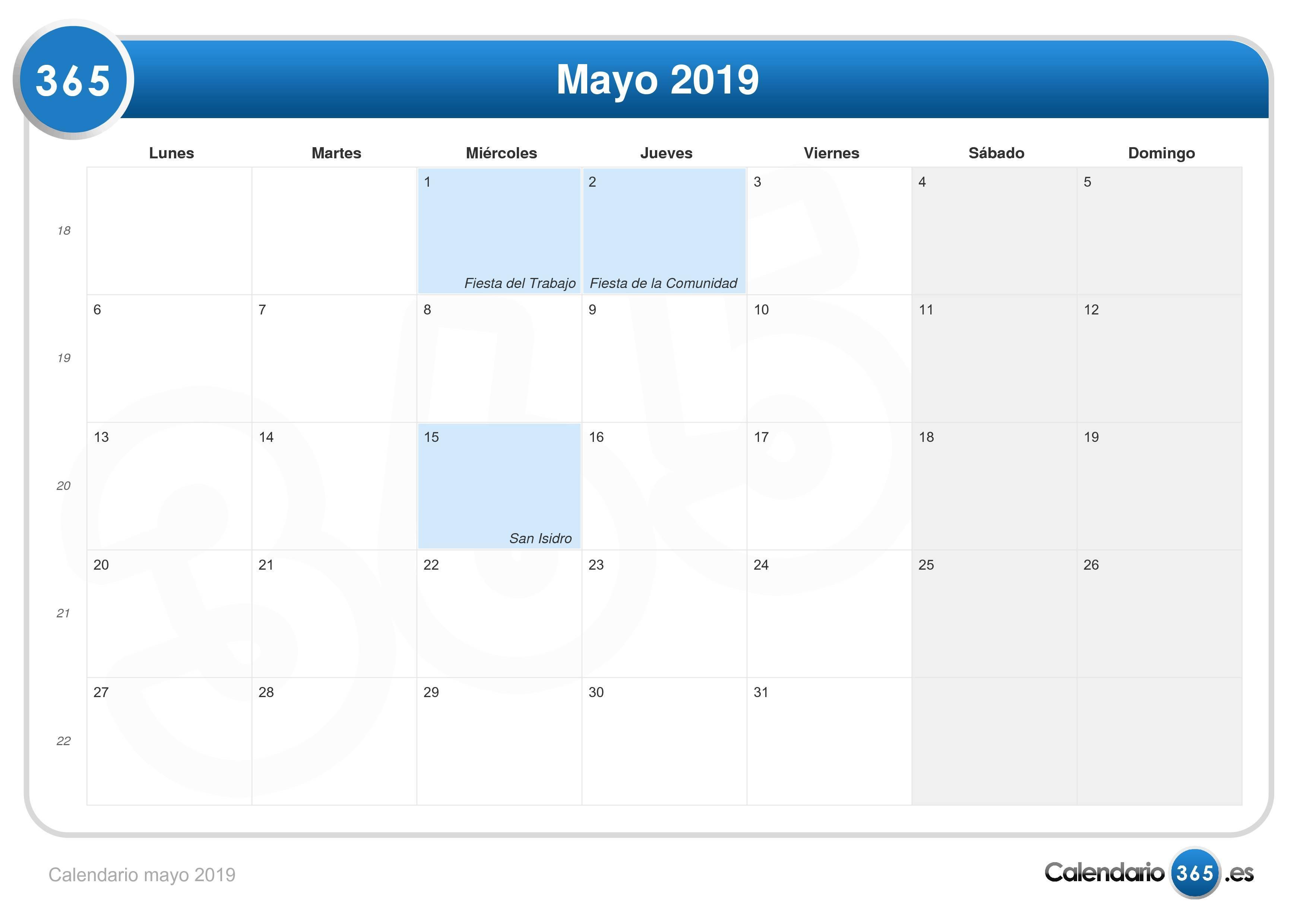 Calendario Laboral Fuenlabrada 2019.Calendario Mayo 2019